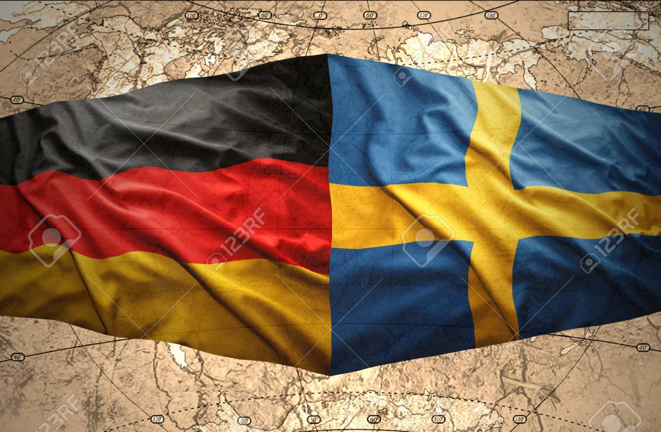 Waving swedish and german flags of the political map of the world waving swedish and german flags of the political map of the world stock photo 25791186 gumiabroncs Images