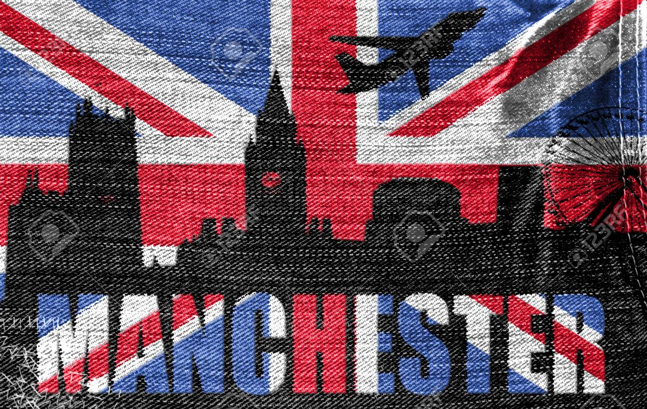 view of manchester on the british flag on the jeans texture stock