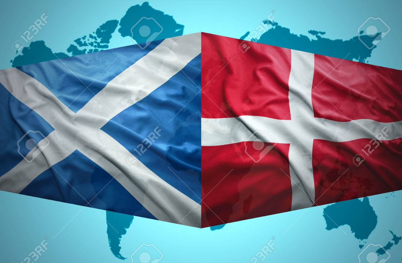 Waving Scottish And Danish Flags Of The Political Map Of The World Stock Photo 30791358