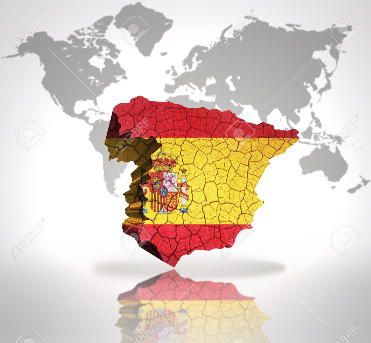 Map of spain with spanish flag on a world map background stock photo map of spain with spanish flag on a world map background stock photo 32675326 gumiabroncs Images