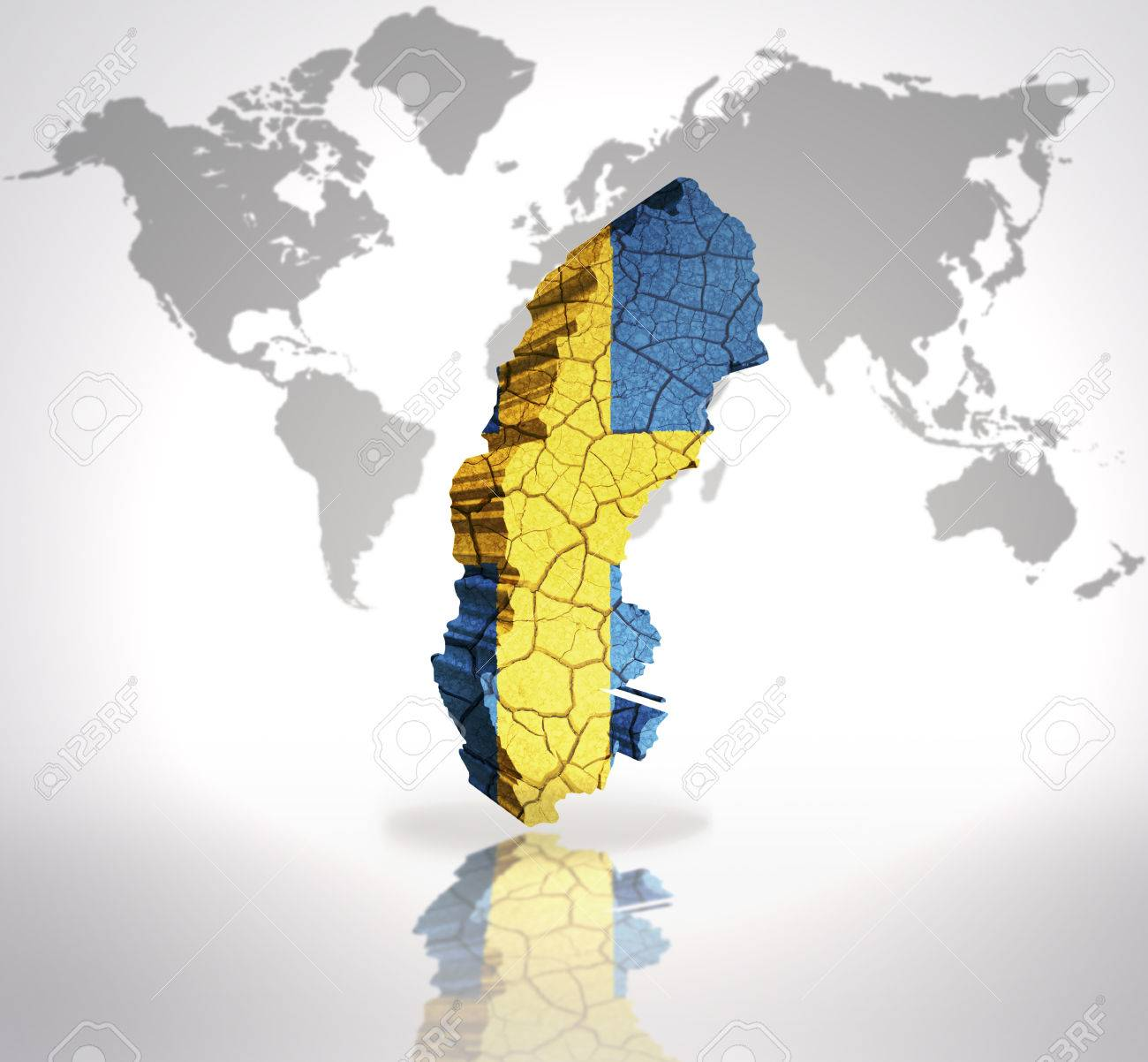 Map Of Sweden With Swedish Flag On A World Map Background Stock - Sweden map flag