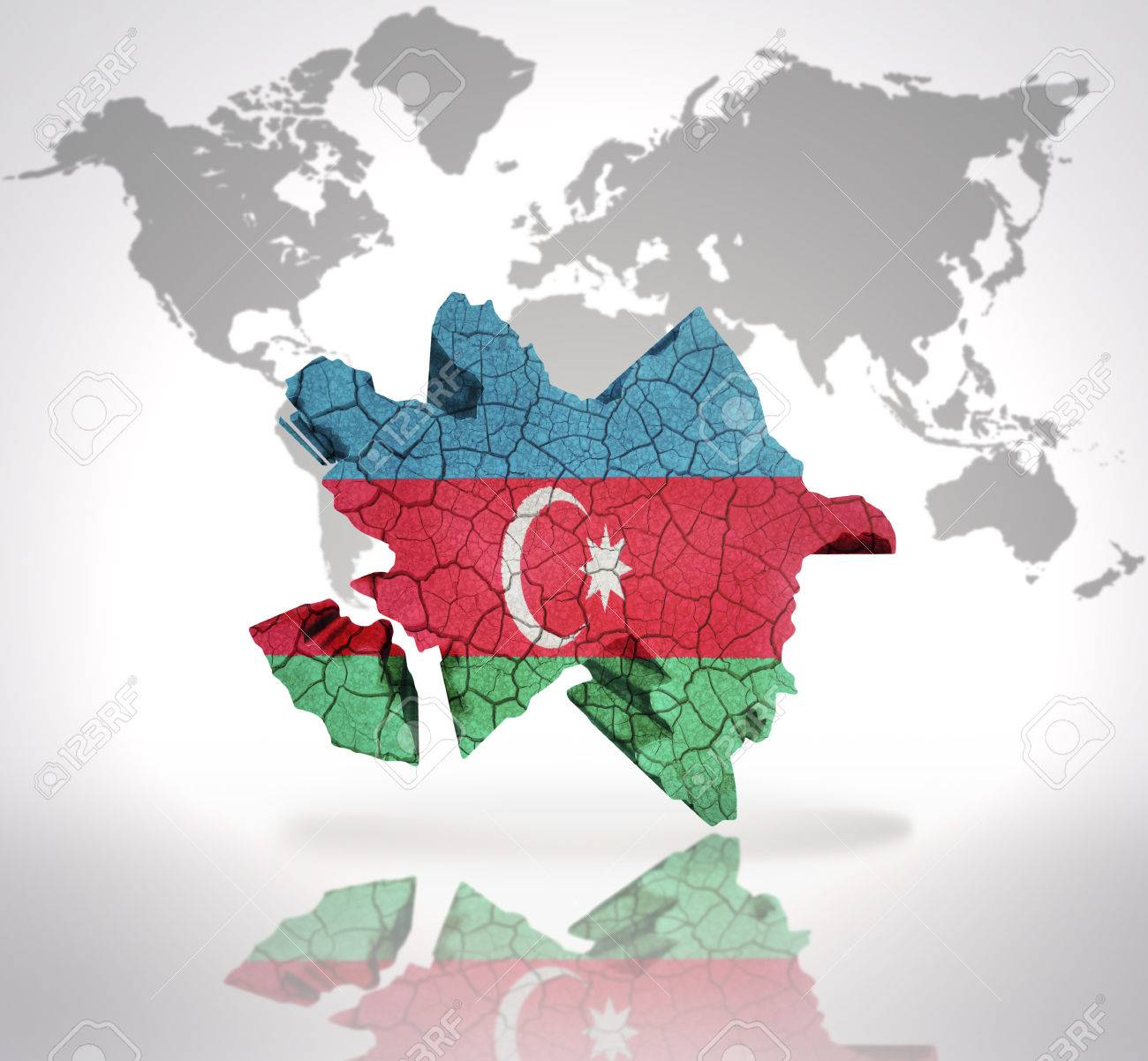 Map Of Azerbaijan With Azerbaijani Flag On A World Map Background Stock Photo Picture And Royalty Free Image Image 32714938