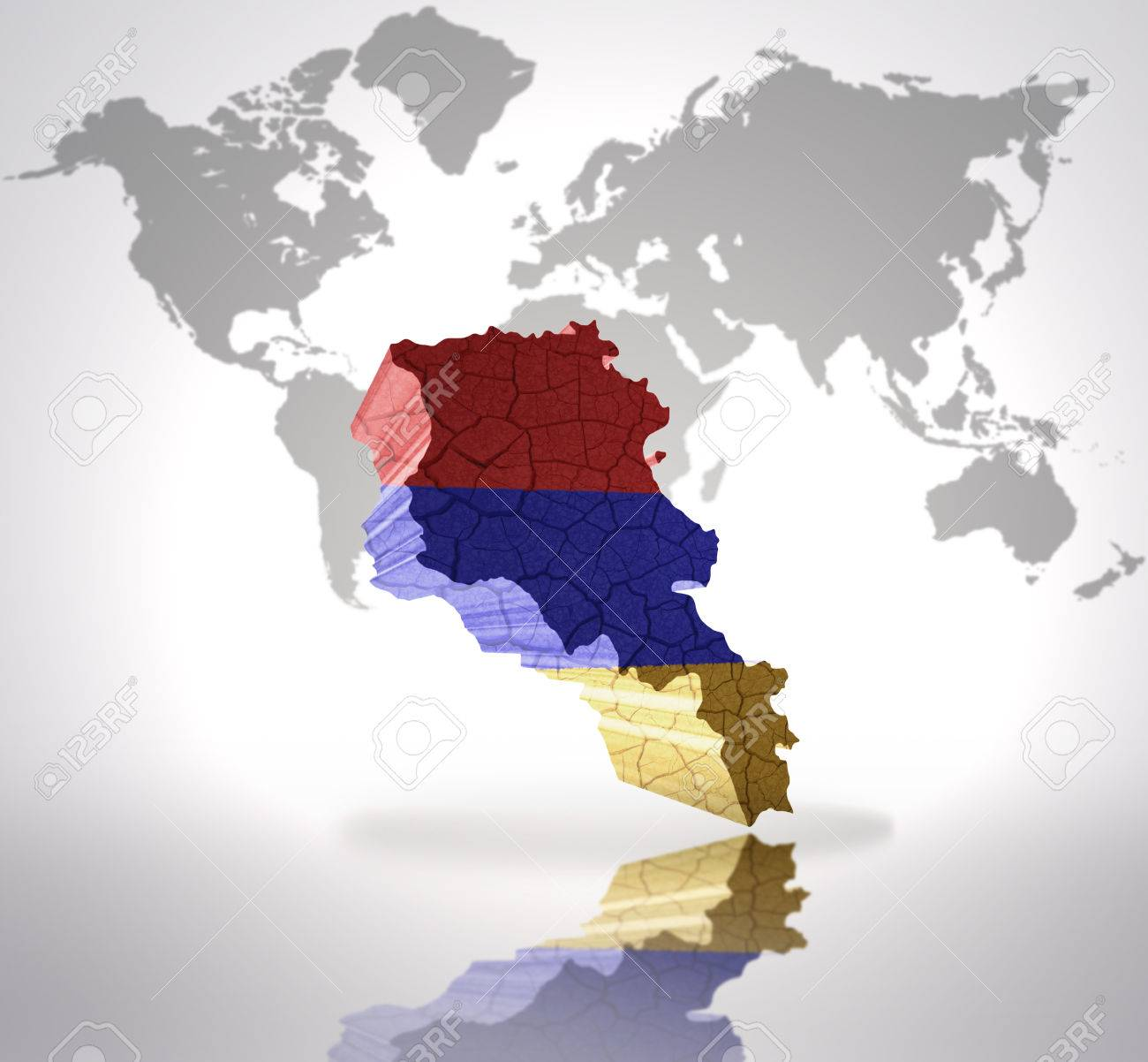 Picture of: Map Of Armenia With Armenian Flag On A World Map Background Stock Photo Picture And Royalty Free Image Image 32714942