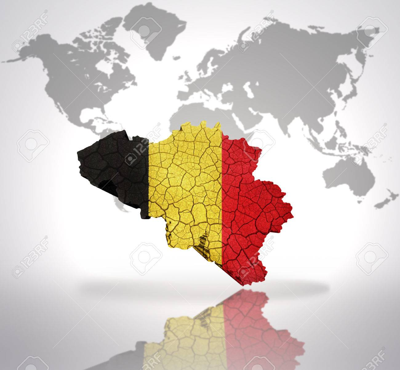 Map of belgium with belgian flag on a world map background stock map of belgium with belgian flag on a world map background stock photo 32714957 gumiabroncs Images