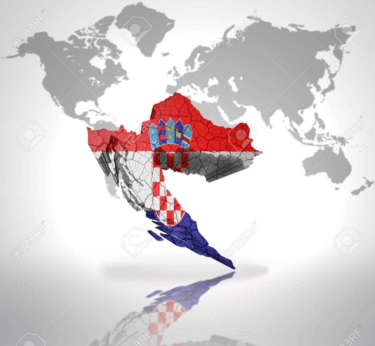 Map of croatia with croatian flag on a world map background stock map of croatia with croatian flag on a world map background stock photo 32714944 gumiabroncs Images