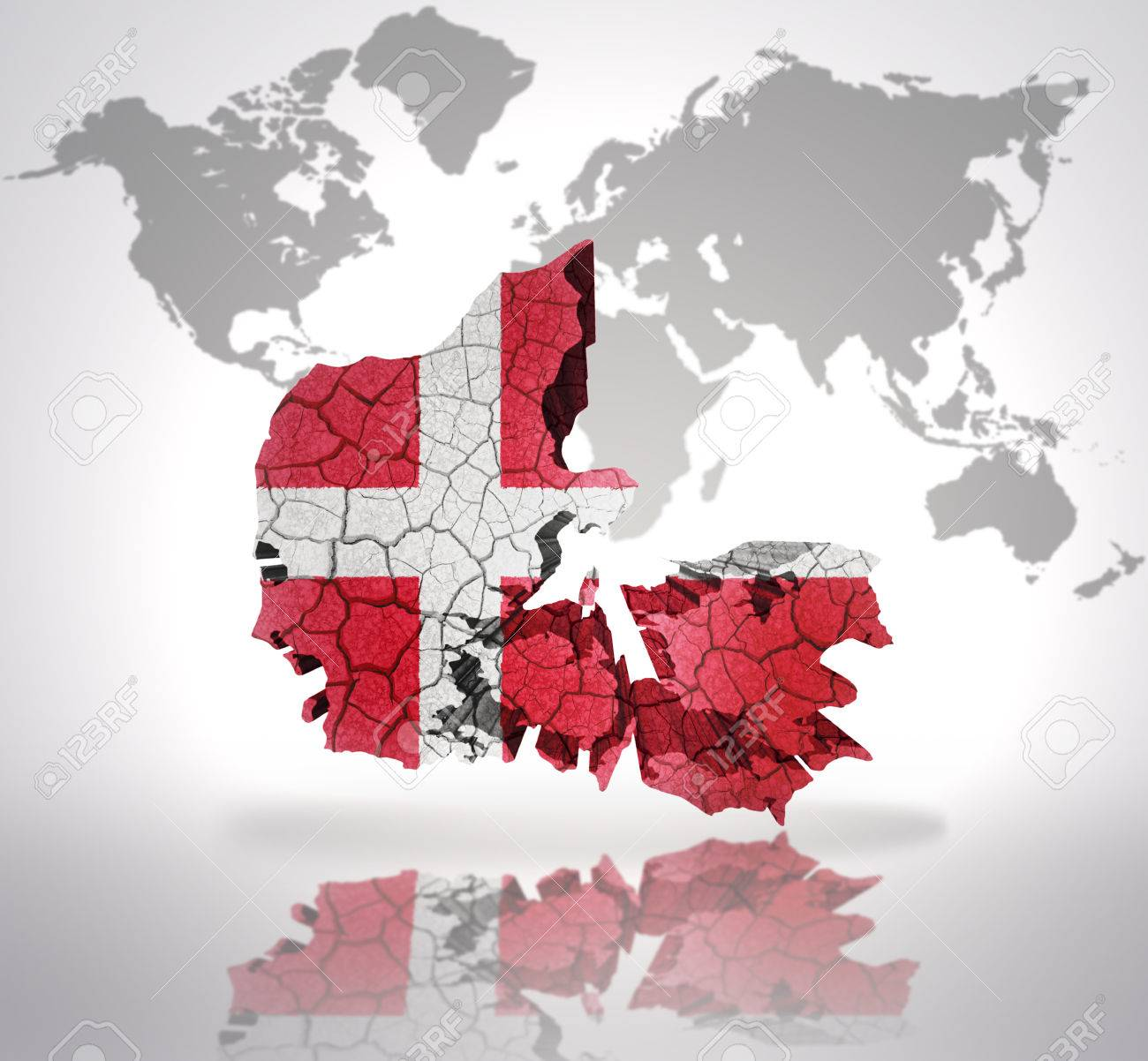Map of denmark with danish flag on a world map background stock map of denmark with danish flag on a world map background stock photo 32714946 gumiabroncs Gallery