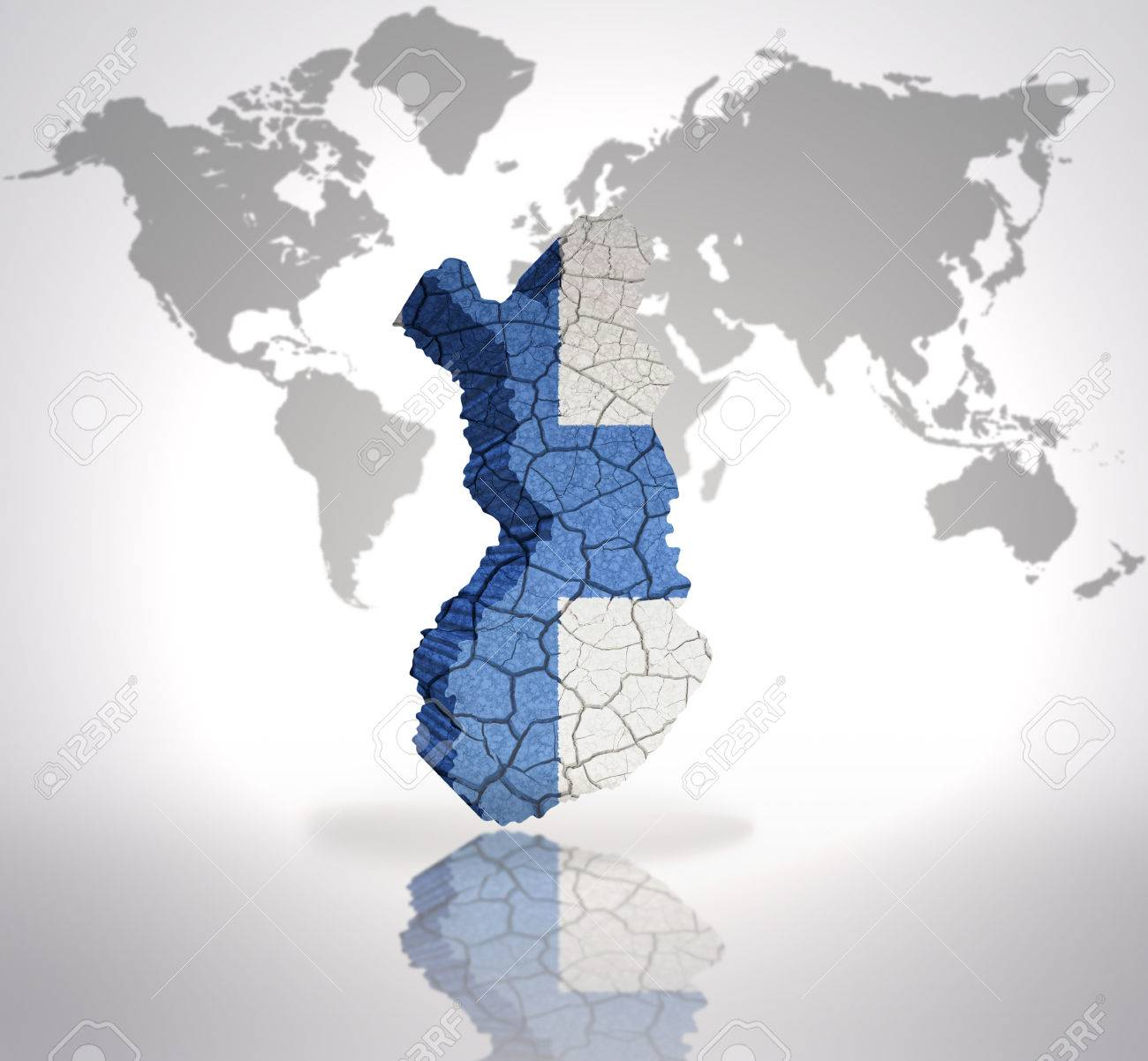 Map of finland with finnish flag on a world map background stock map of finland with finnish flag on a world map background stock photo 32714948 publicscrutiny Images