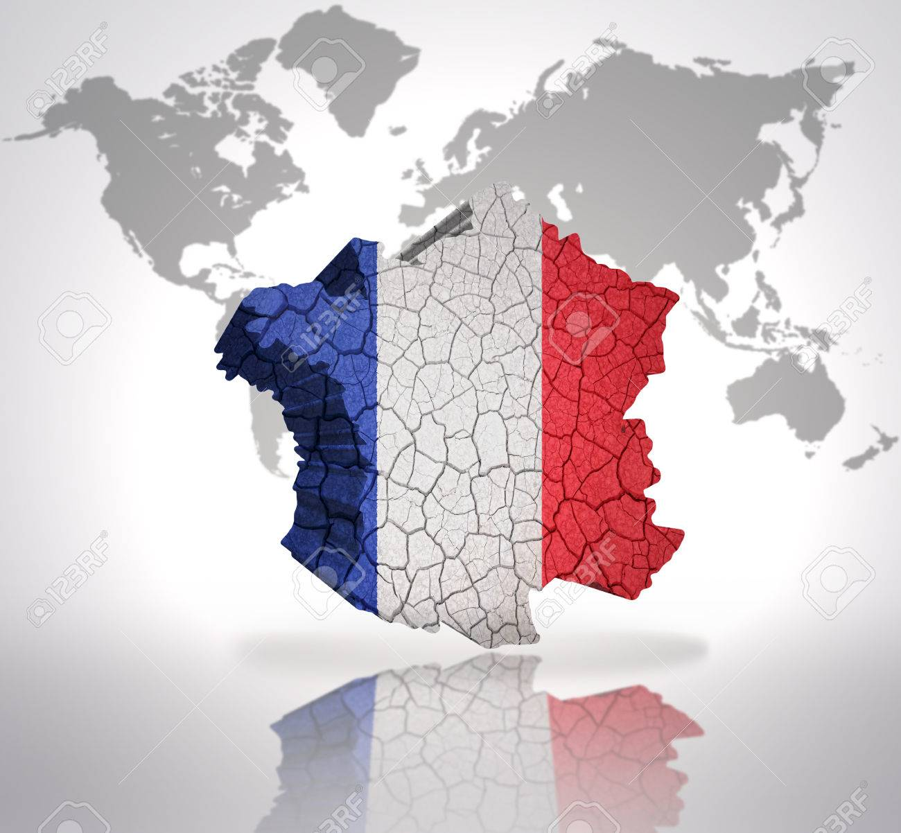 map of france with french flag on a world map background stock
