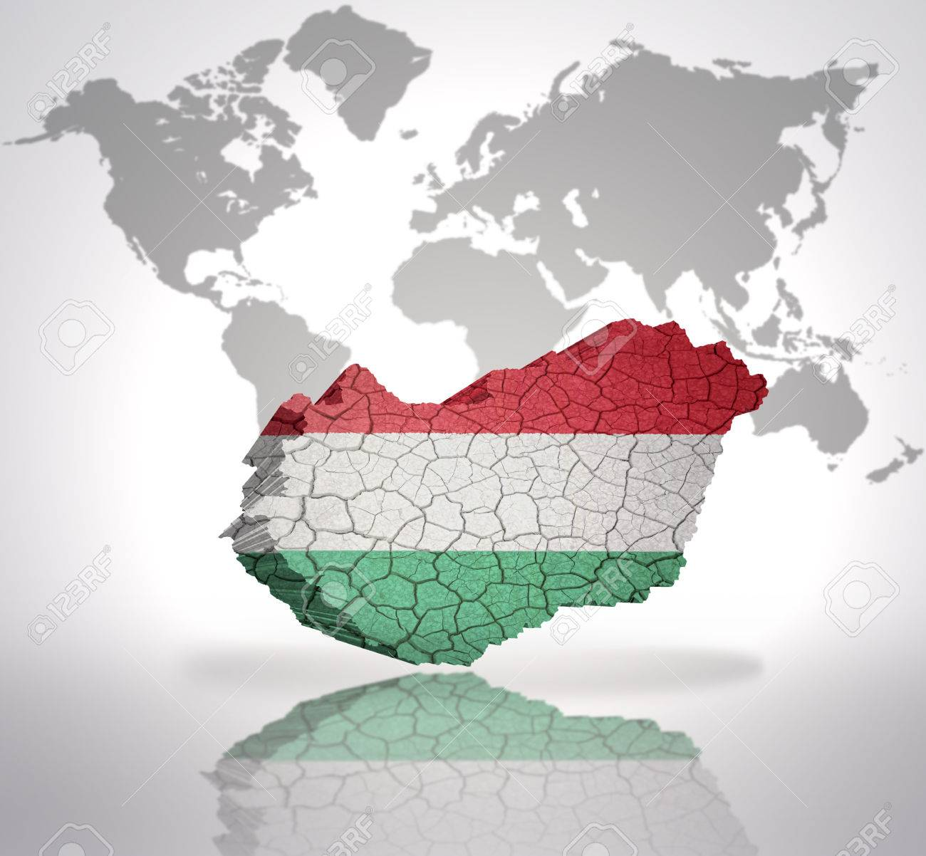 Map of hungary with hungarian flag on a world map background stock map of hungary with hungarian flag on a world map background stock photo 32714953 gumiabroncs Gallery