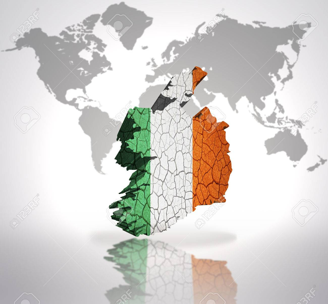 Map of ireland with irish flag on a world map background stock photo map of ireland with irish flag on a world map background stock photo 32715078 gumiabroncs Gallery