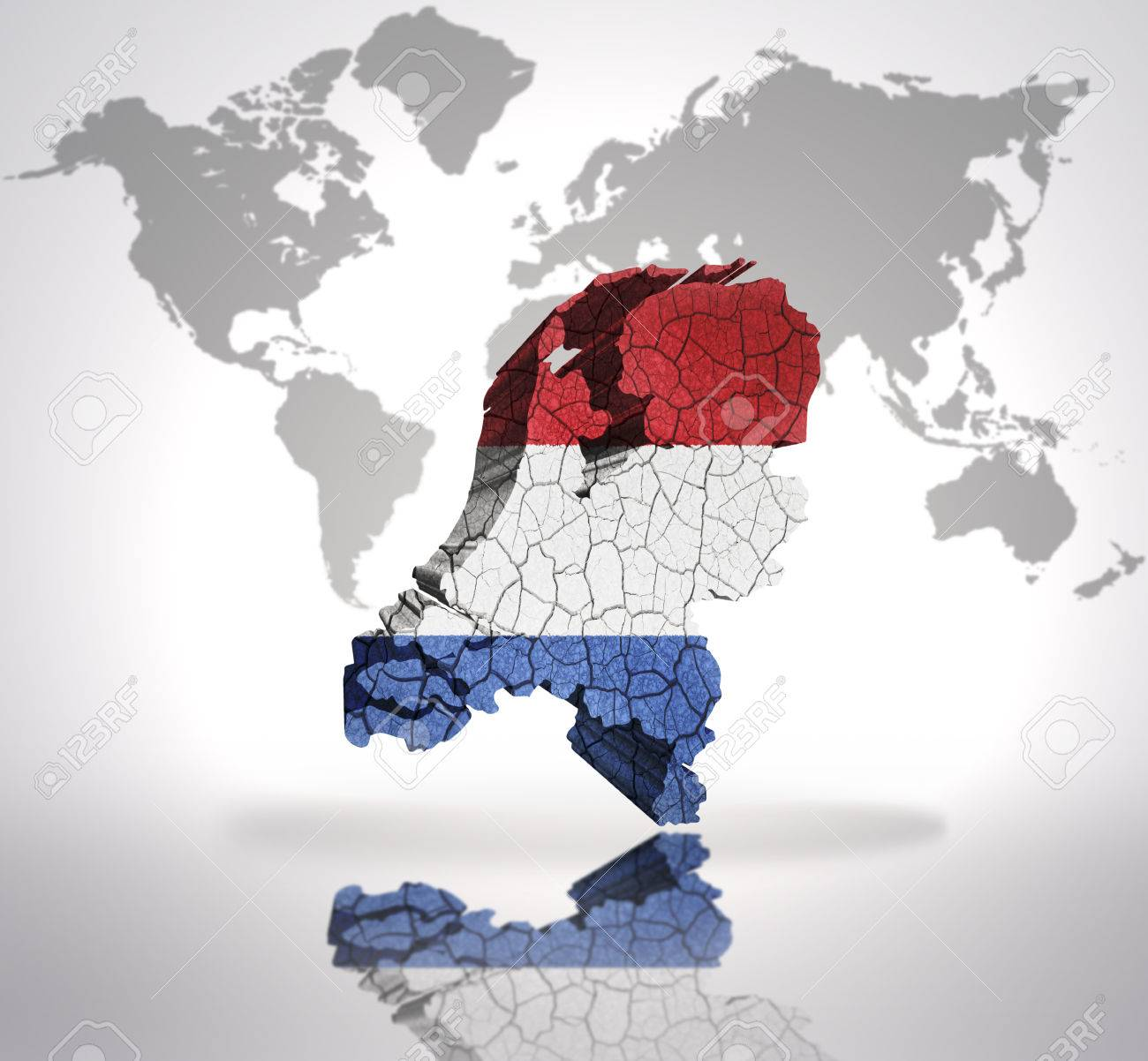 Map of netherlands with dutch flag on a world map background stock map of netherlands with dutch flag on a world map background stock photo 32715086 gumiabroncs Image collections