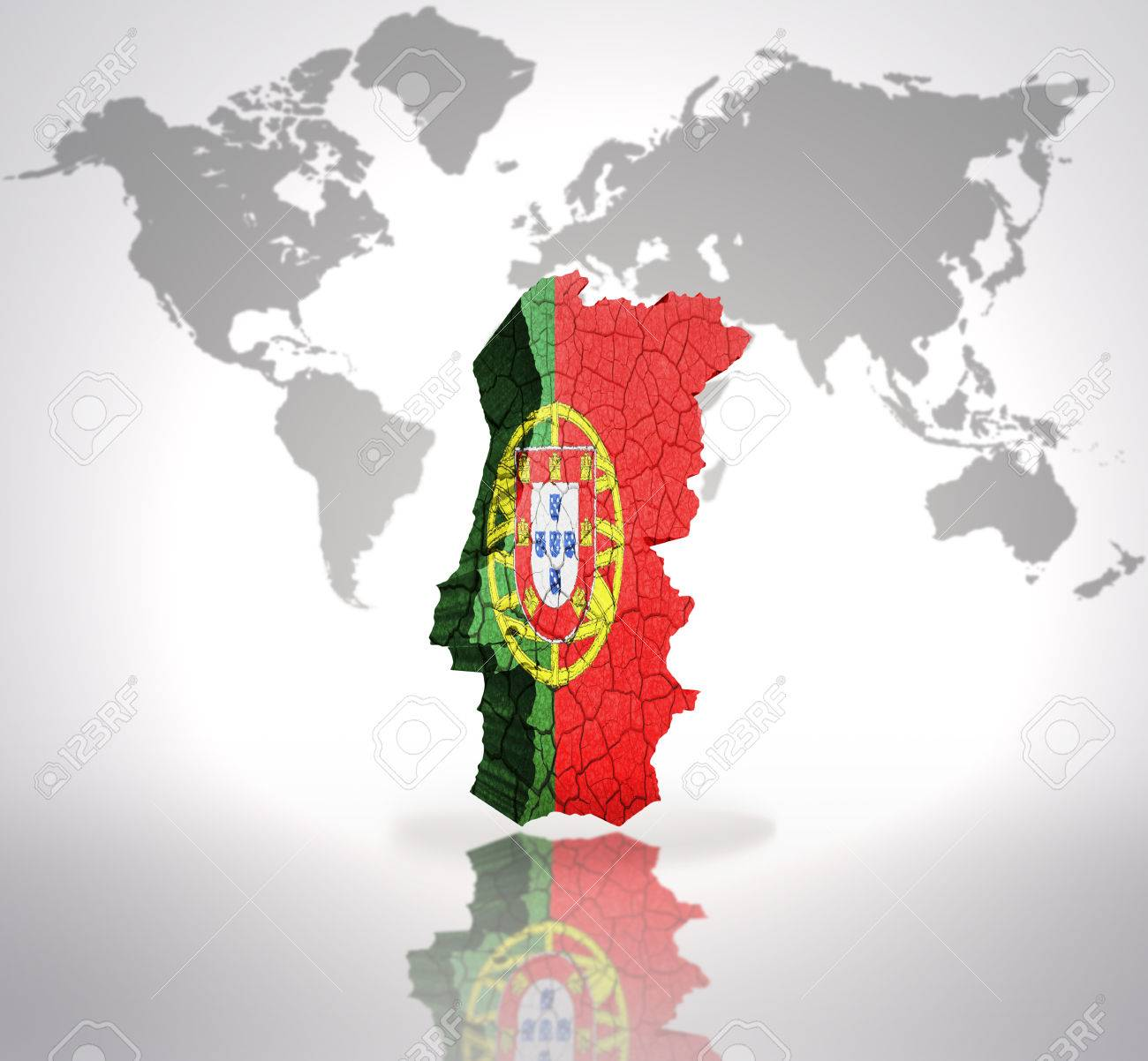Map Of Portugal With Portuguese Flag On A World Map Background Stock ...