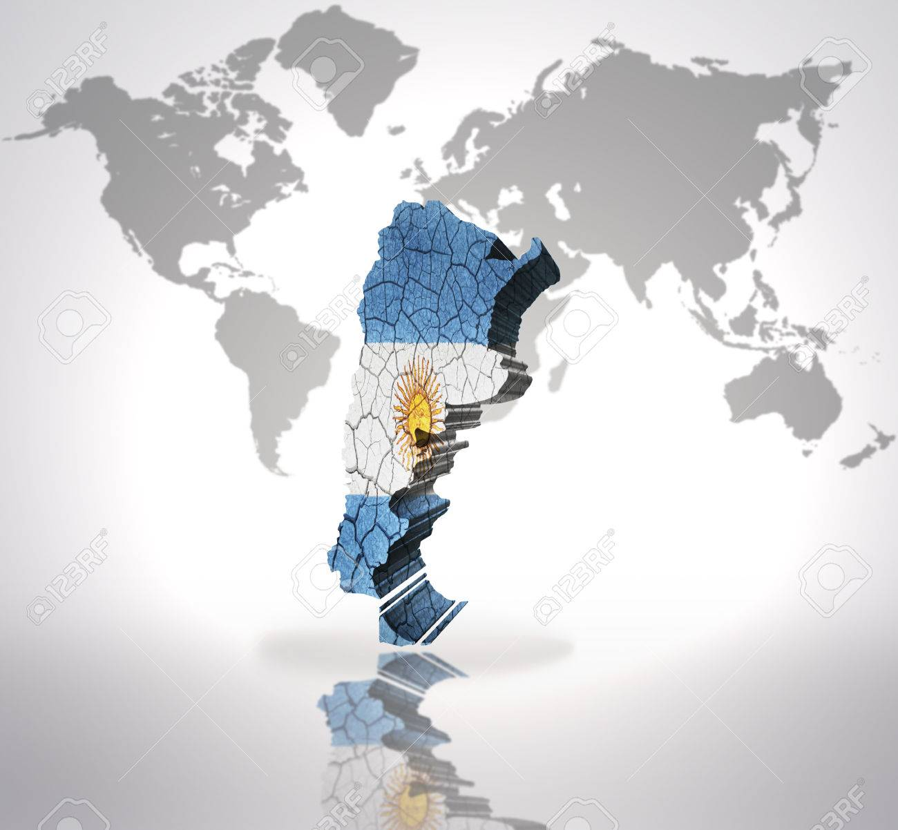 Map Of Argentina With Argentinean Flag On A World Map Background - Argentina map world
