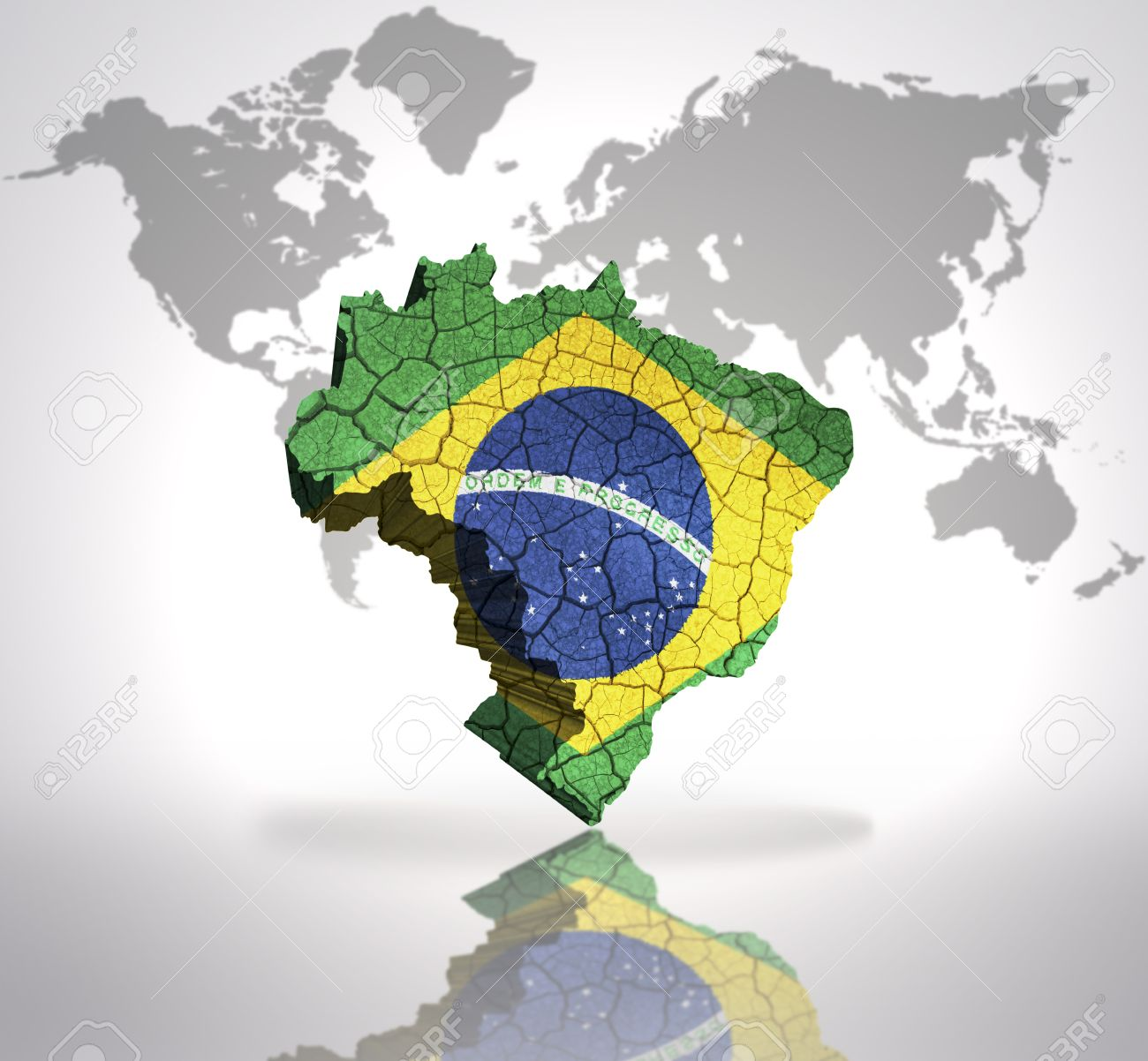 Picture of: Map Of Brazil With Brazilian Flag On A World Map Background Stock Photo Picture And Royalty Free Image Image 32715535