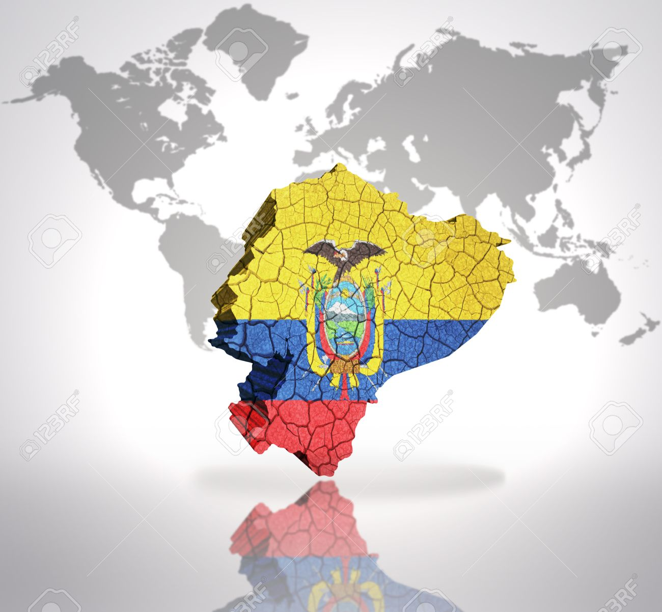 Map Of Ecuador With Ecuadorian Flag On A World Map Background