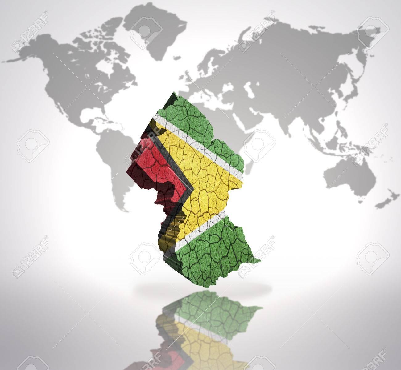 Carte De La Guyane Avec Le Drapeau Du Guyana Sur Une Carte Du Monde Arrière Plan