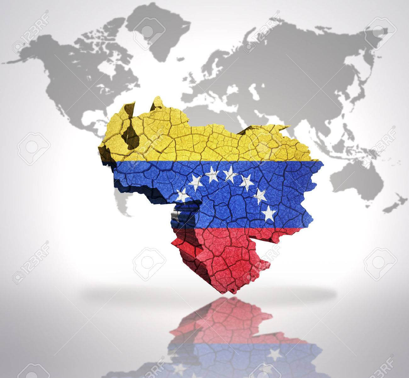Map Of Venezuela With Venezuelan Flag On A World Map Background ...