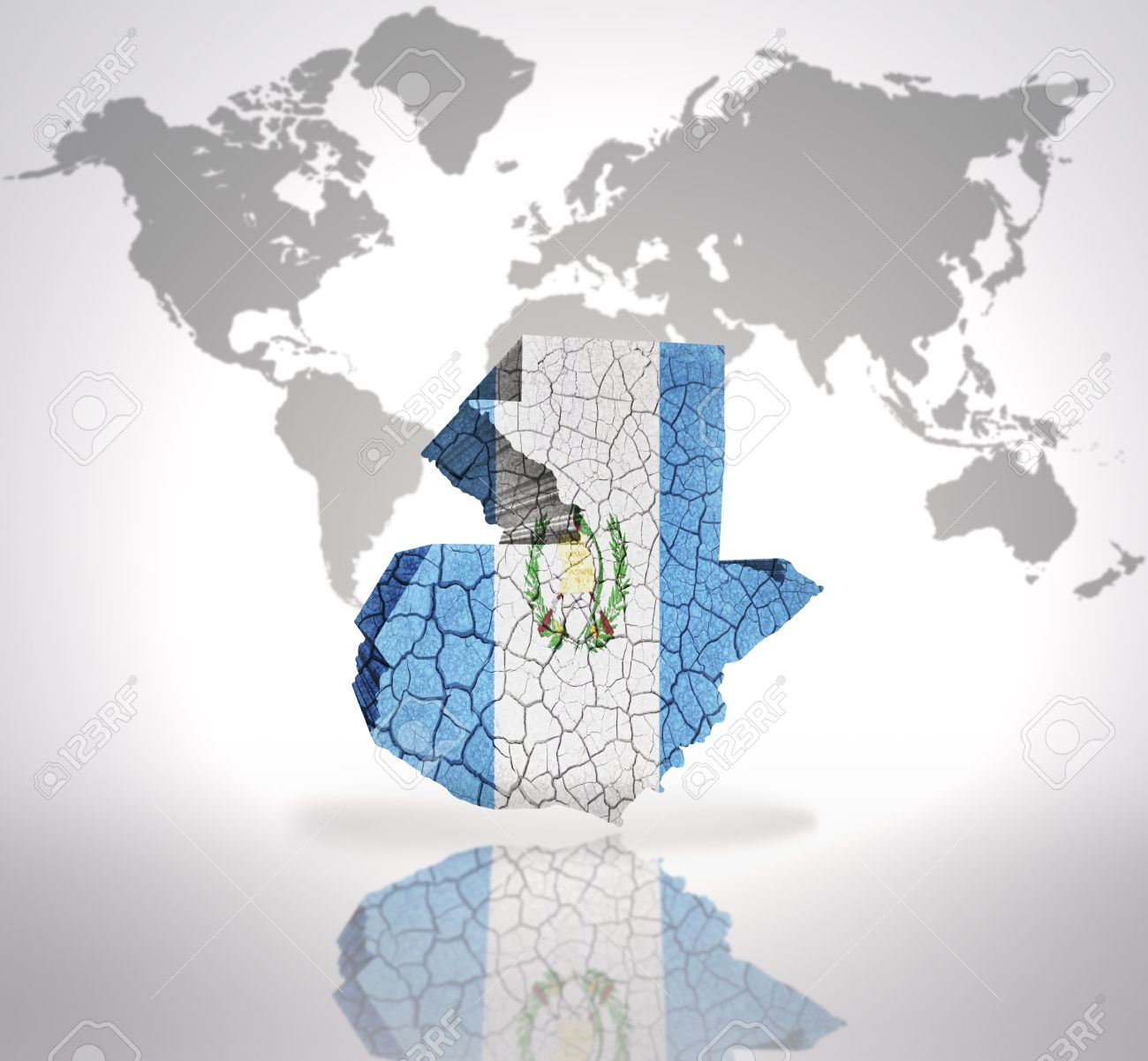 Map of Guatemala with Guatemala Flag on a world map background