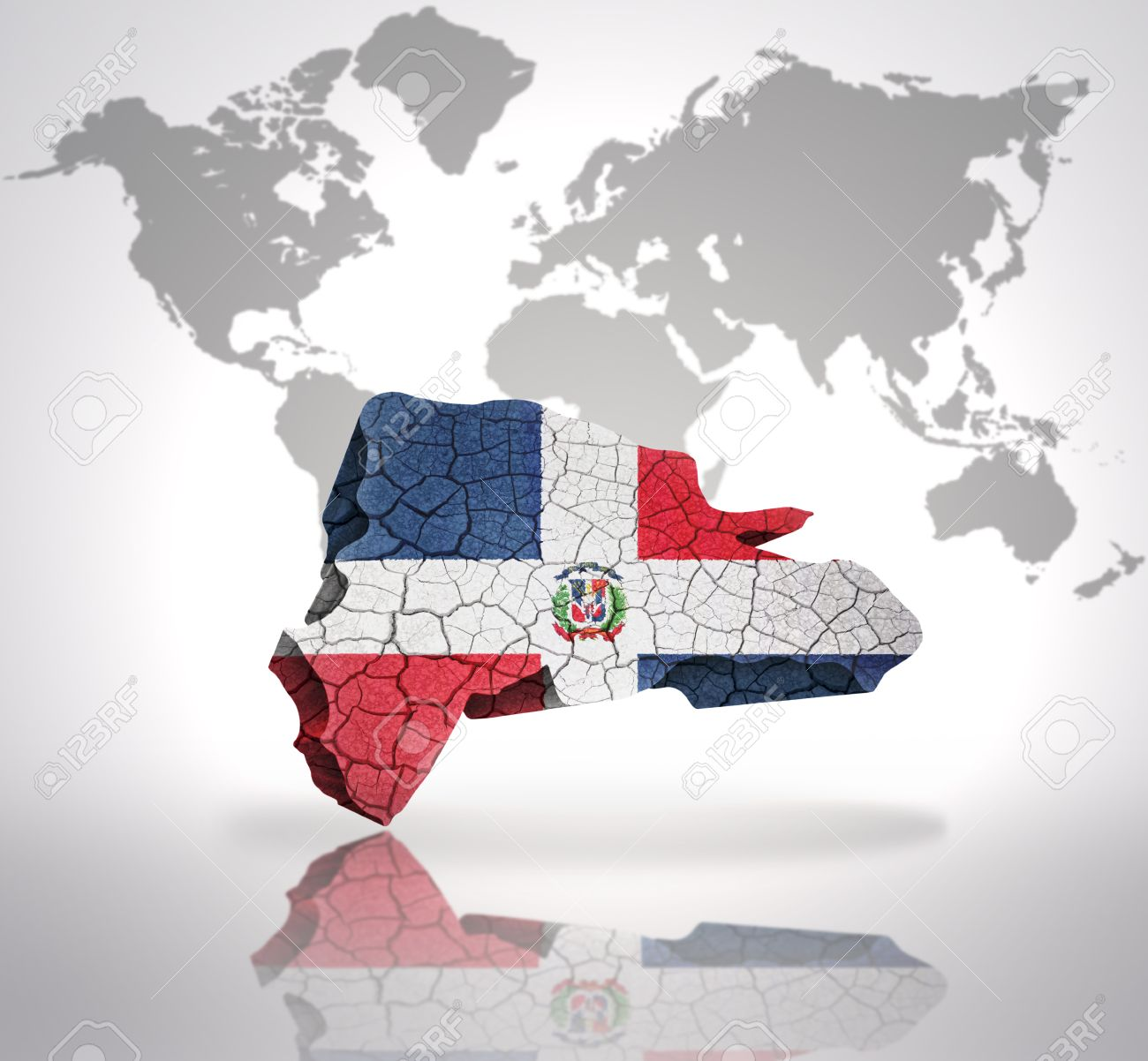 Map Of Dominican Republic With Dominican Flag On A World Map - Map of dominican republic world