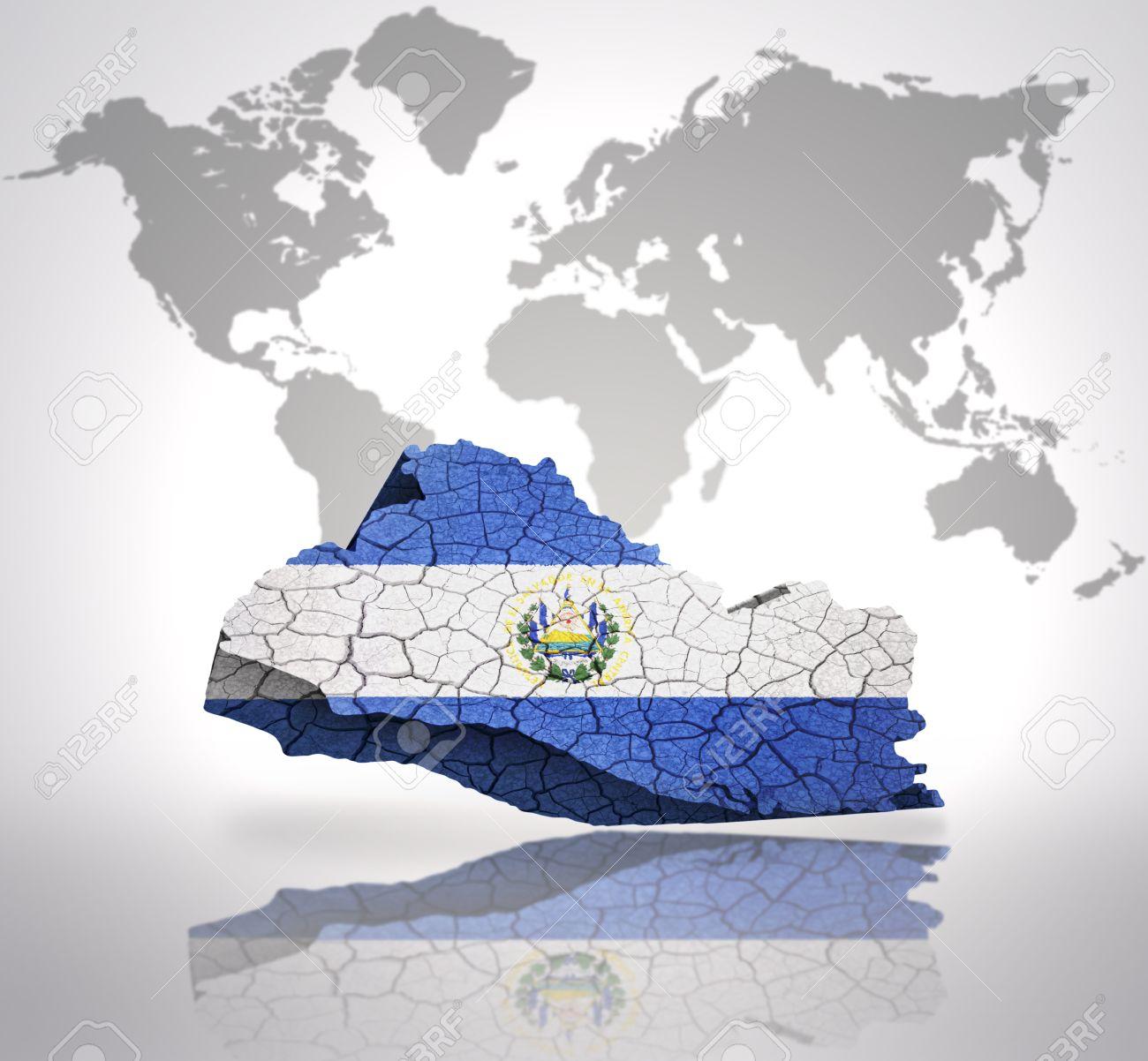 Map Of El Salvador With El Salvador Flag On A World Map Background