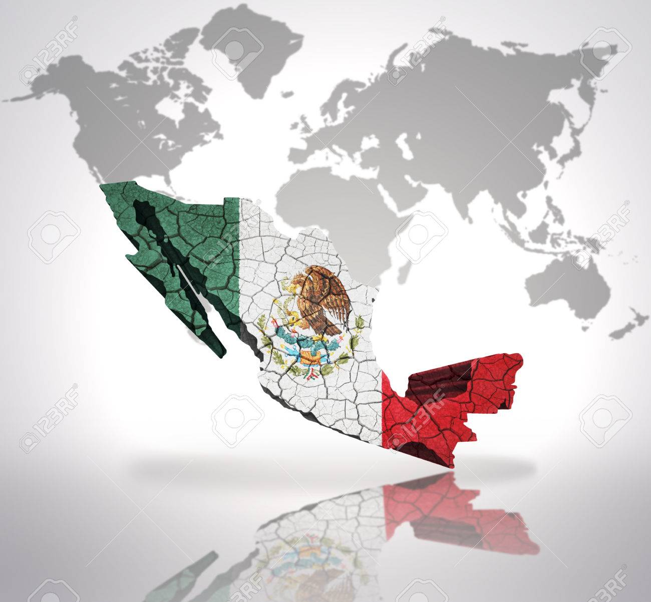 map of mexico with mexican flag on a world map background stock