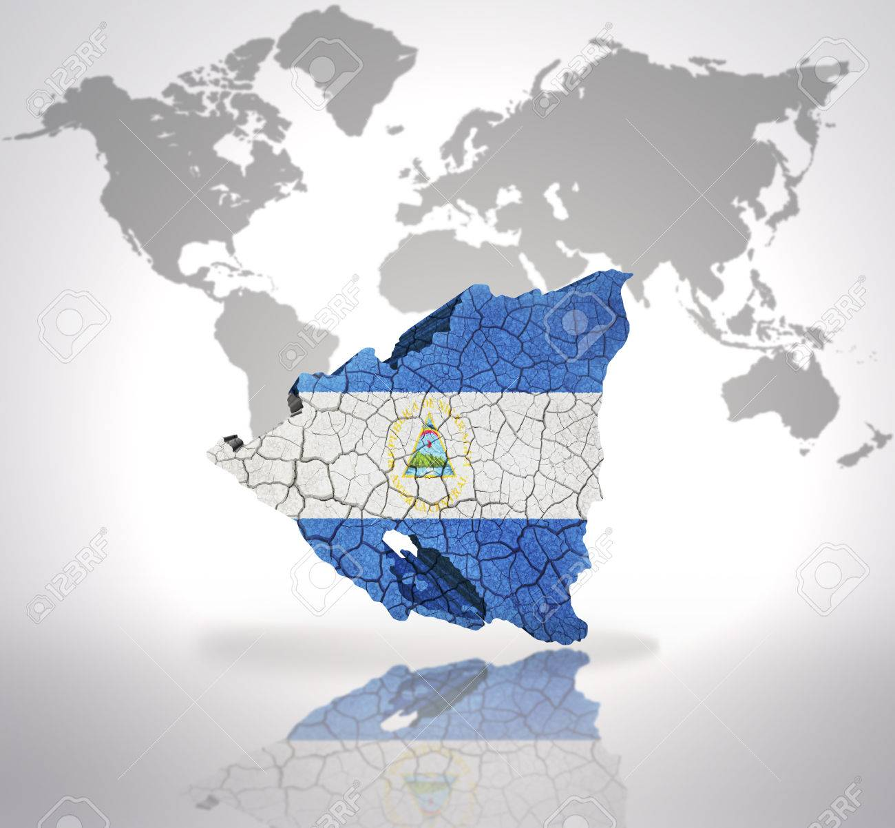 Map of nicaragua with nicaraguan flag on a world map background map of nicaragua with nicaraguan flag on a world map background stock photo 32762967 gumiabroncs