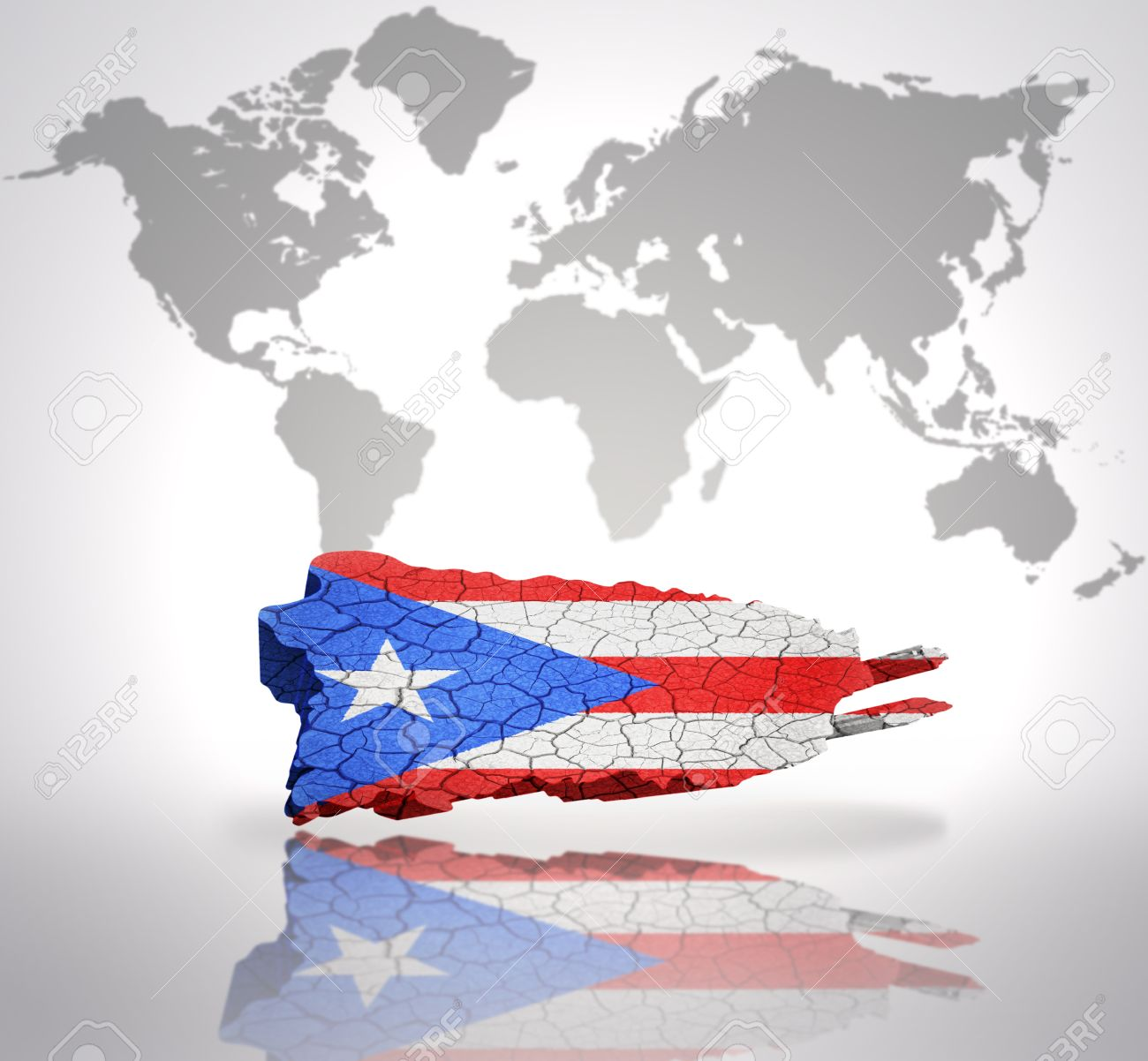 Map of Puerto Rico with Puerto Rican Flag on a world map background