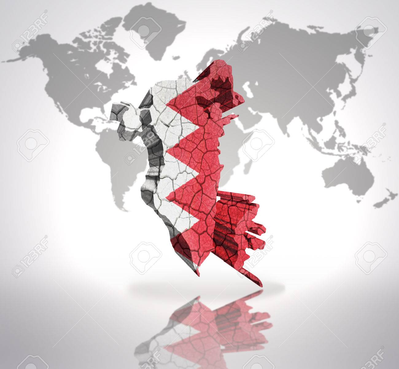 Map Of Bahrain With Bahrain Flag On A World Map Background Stock ...