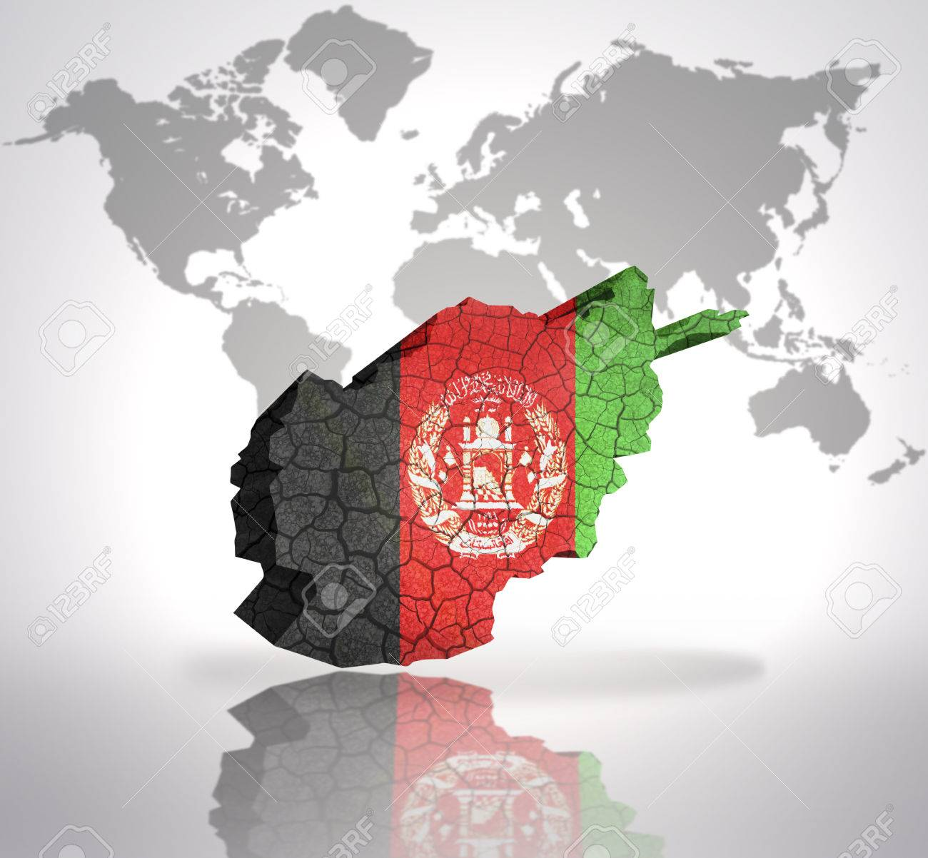 map of afghanistan with afghan flag on a world map background stock photo 32802518
