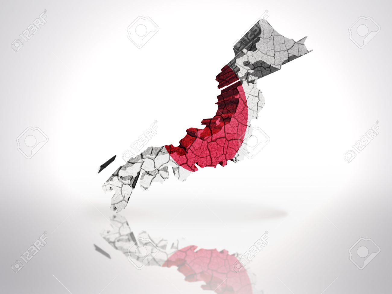 map of japan with japanese flag on a white background stock photo