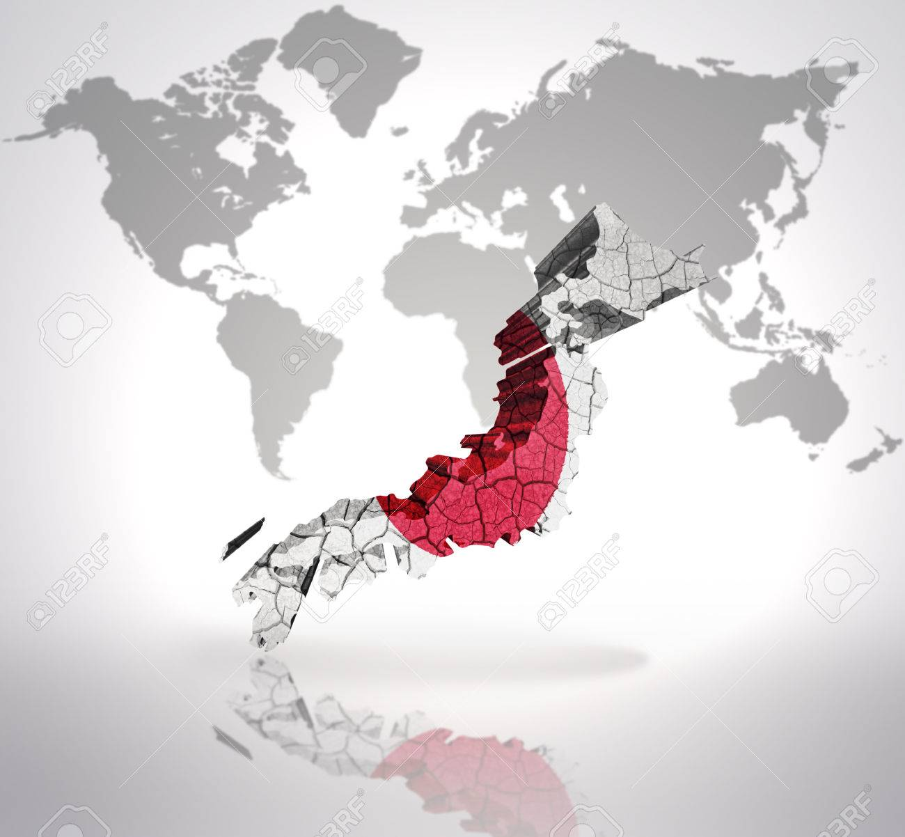 Map Of Japan With Japanese Flag On A World Map Background Stock - Japan map in world map
