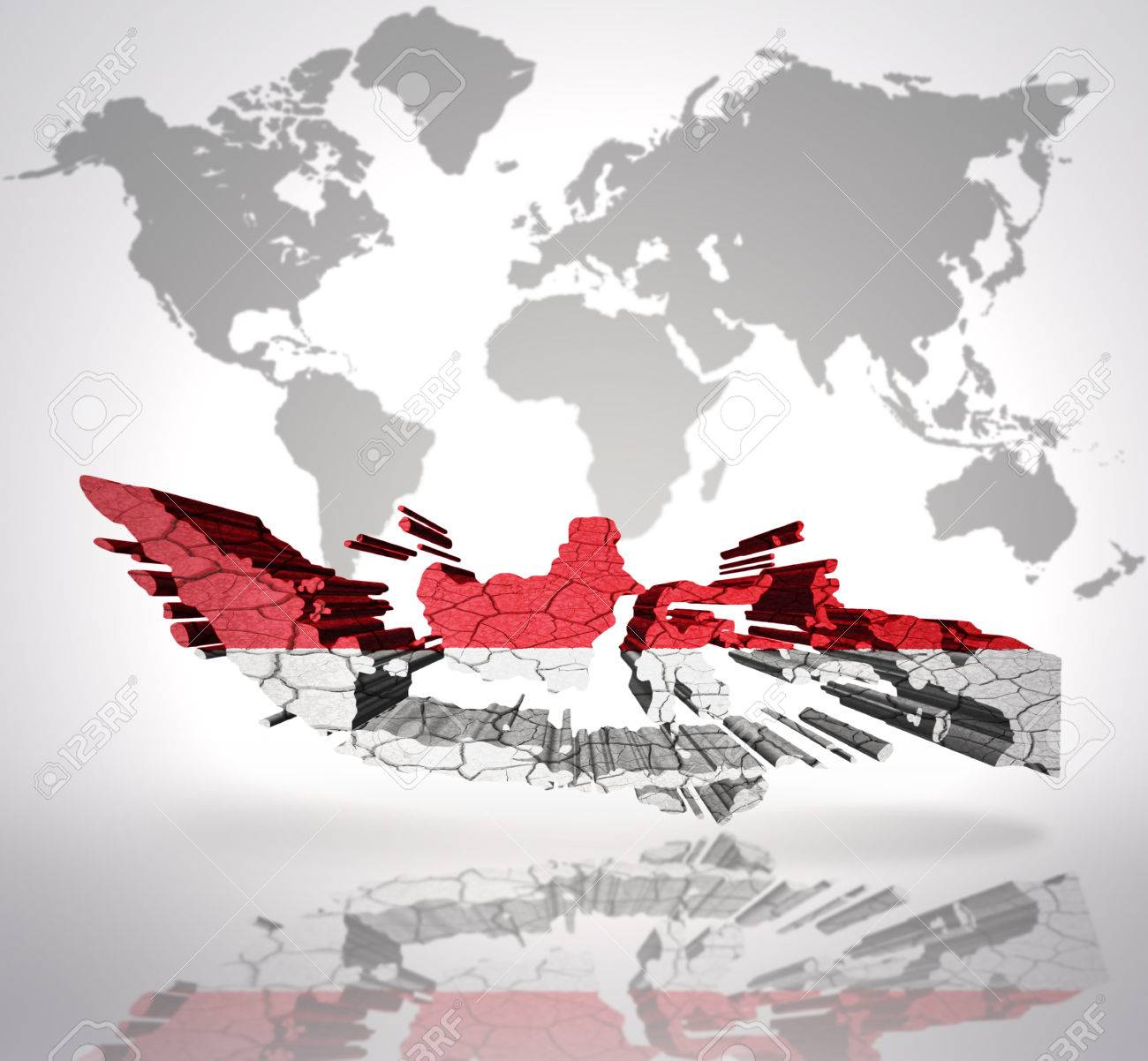 Map of indonesia with indonesian flag on a world map background map of indonesia with indonesian flag on a world map background stock photo 32849751 gumiabroncs Images
