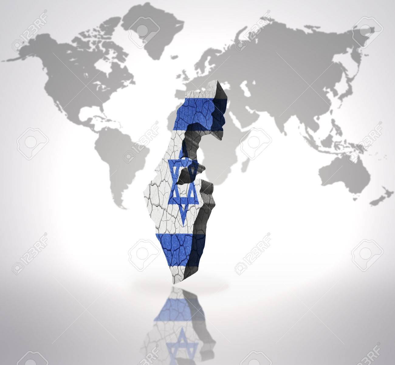 Map Of Israel With Israeli Flag On A World Map Background Stock - Israel world map