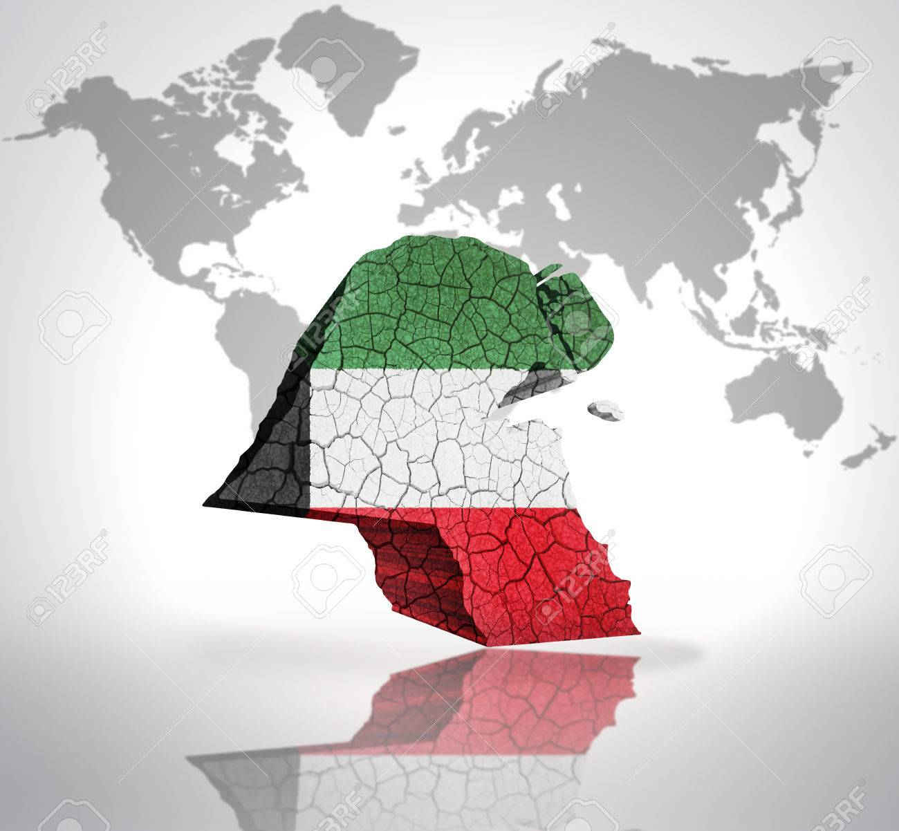 Map of kuwait with kuwait flag on a world map background stock map of kuwait with kuwait flag on a world map background stock photo 32849755 gumiabroncs Image collections
