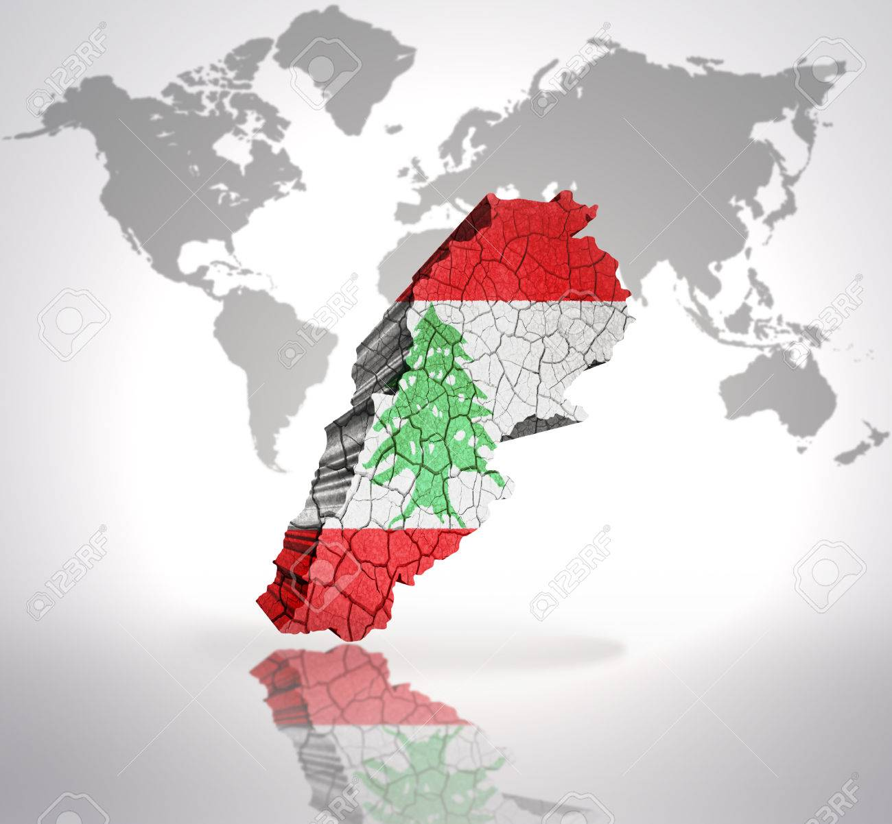Map of lebanon with lebanese flag on a world map background stock map of lebanon with lebanese flag on a world map background stock photo 32849759 sciox Gallery