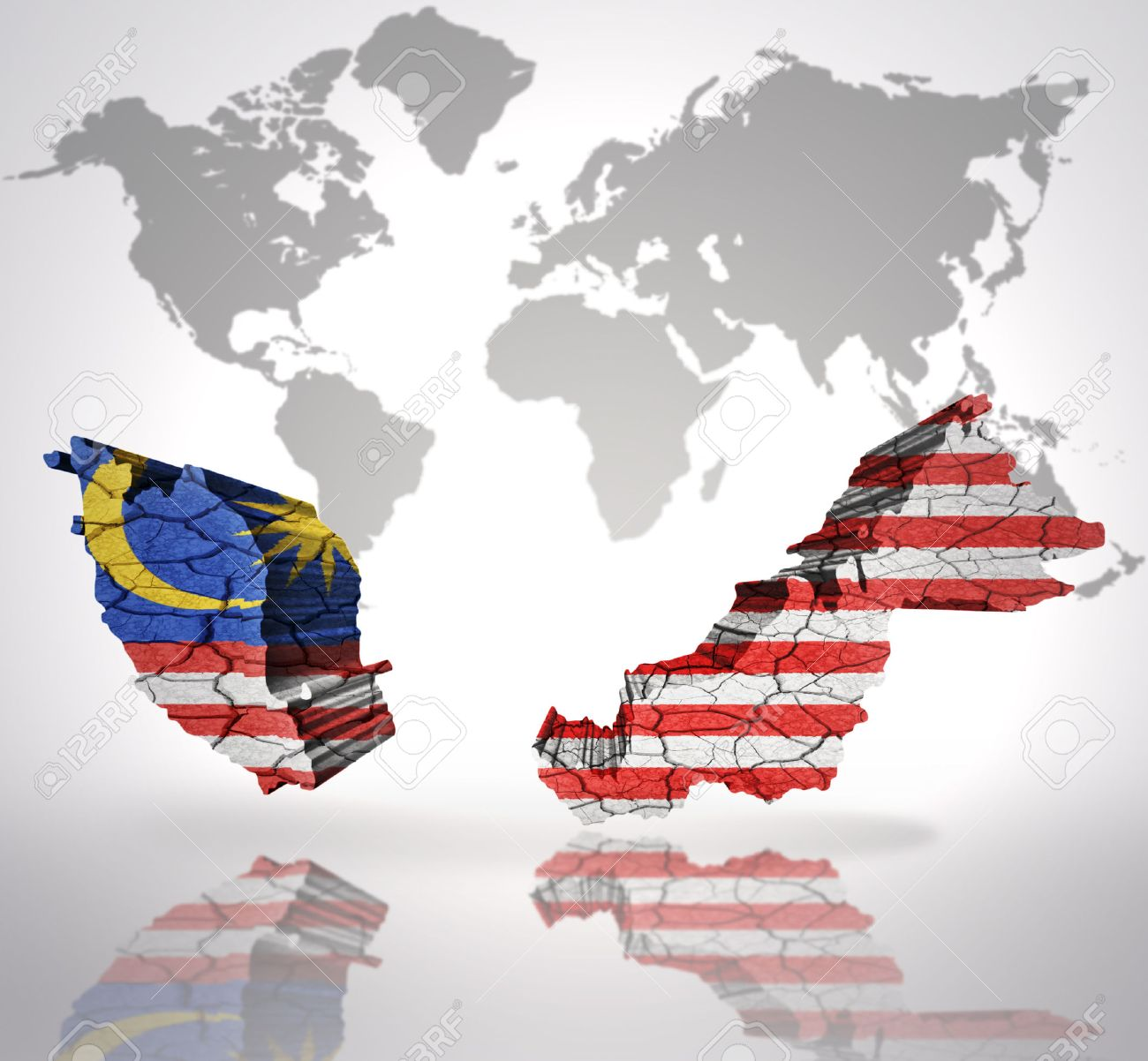 Map of malaysia with malaysian flag on a world map background stock map of malaysia with malaysian flag on a world map background stock photo 32849758 gumiabroncs Choice Image