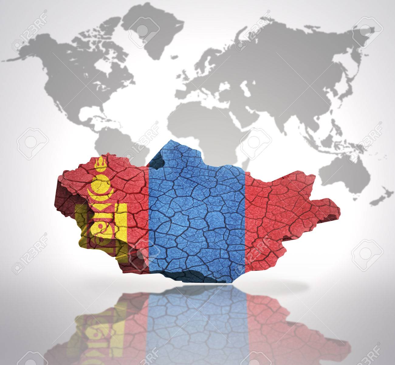 Map of mongolia with mongolian flag on a world map background stock map of mongolia with mongolian flag on a world map background stock photo 32849762 gumiabroncs Images