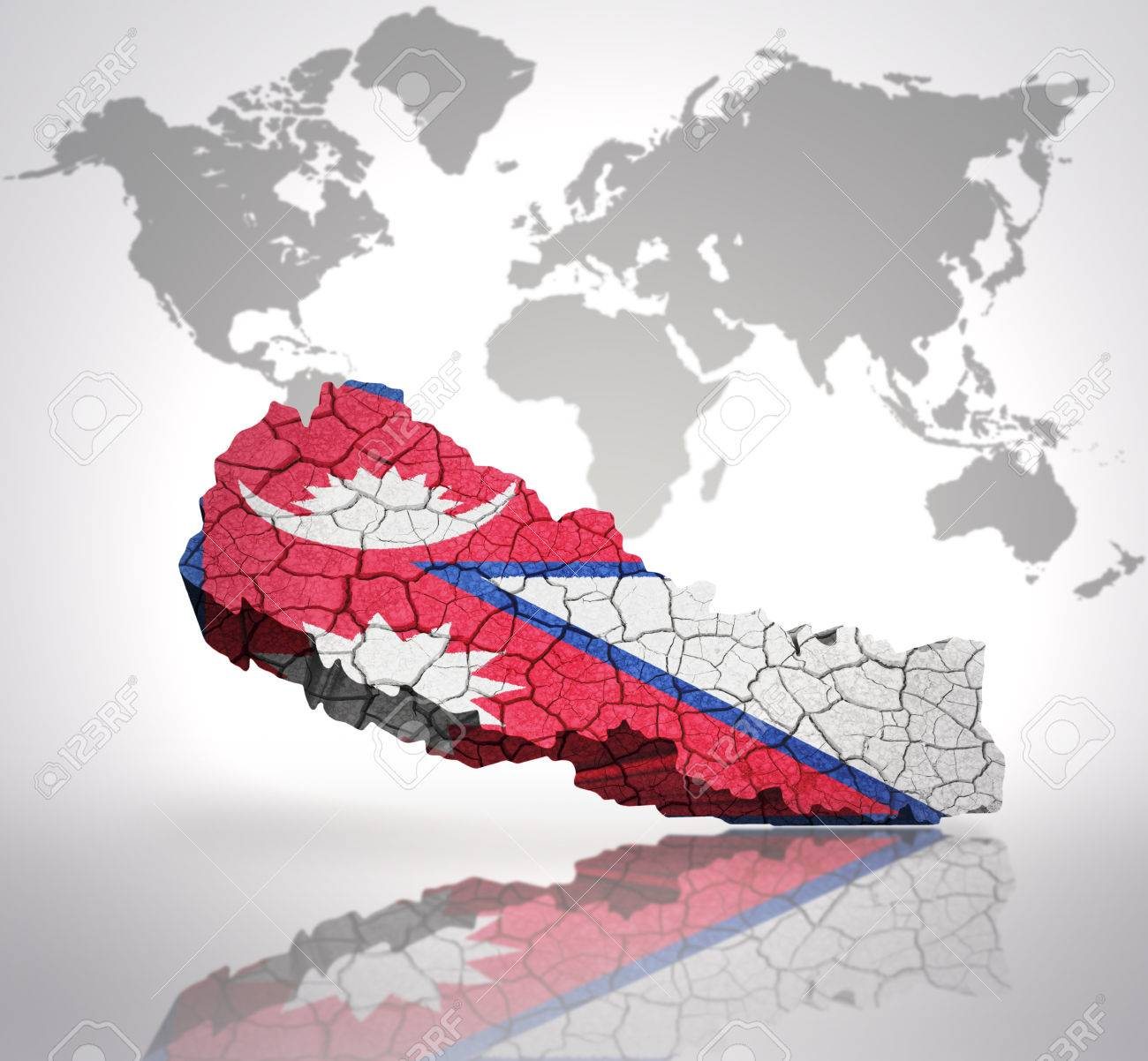 Map Of Nepal With Nepali Flag On A World Map Background Stock Photo ...