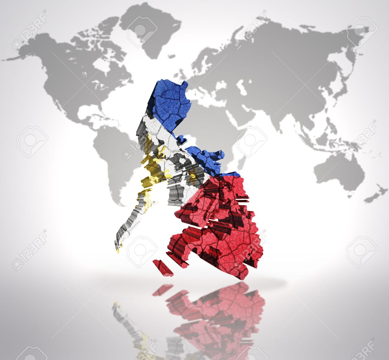 Map Of Philippines With Philippine Flag On A World Map Background ...