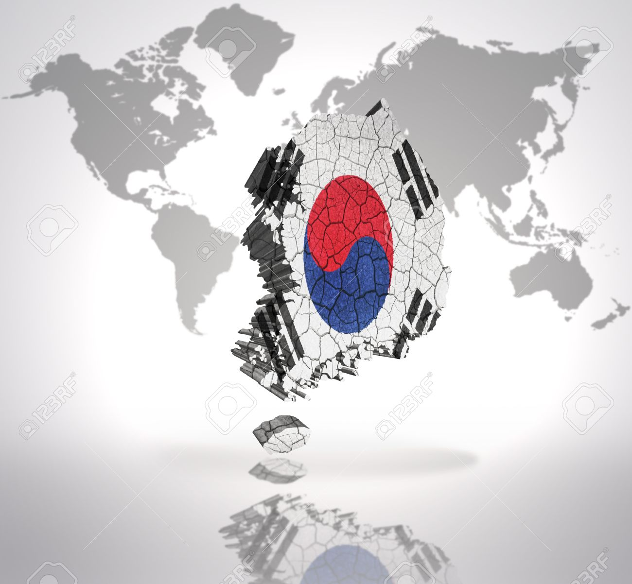 Map of south korea with korean flag on a world map background stock map of south korea with korean flag on a world map background stock photo 32873816 gumiabroncs Gallery