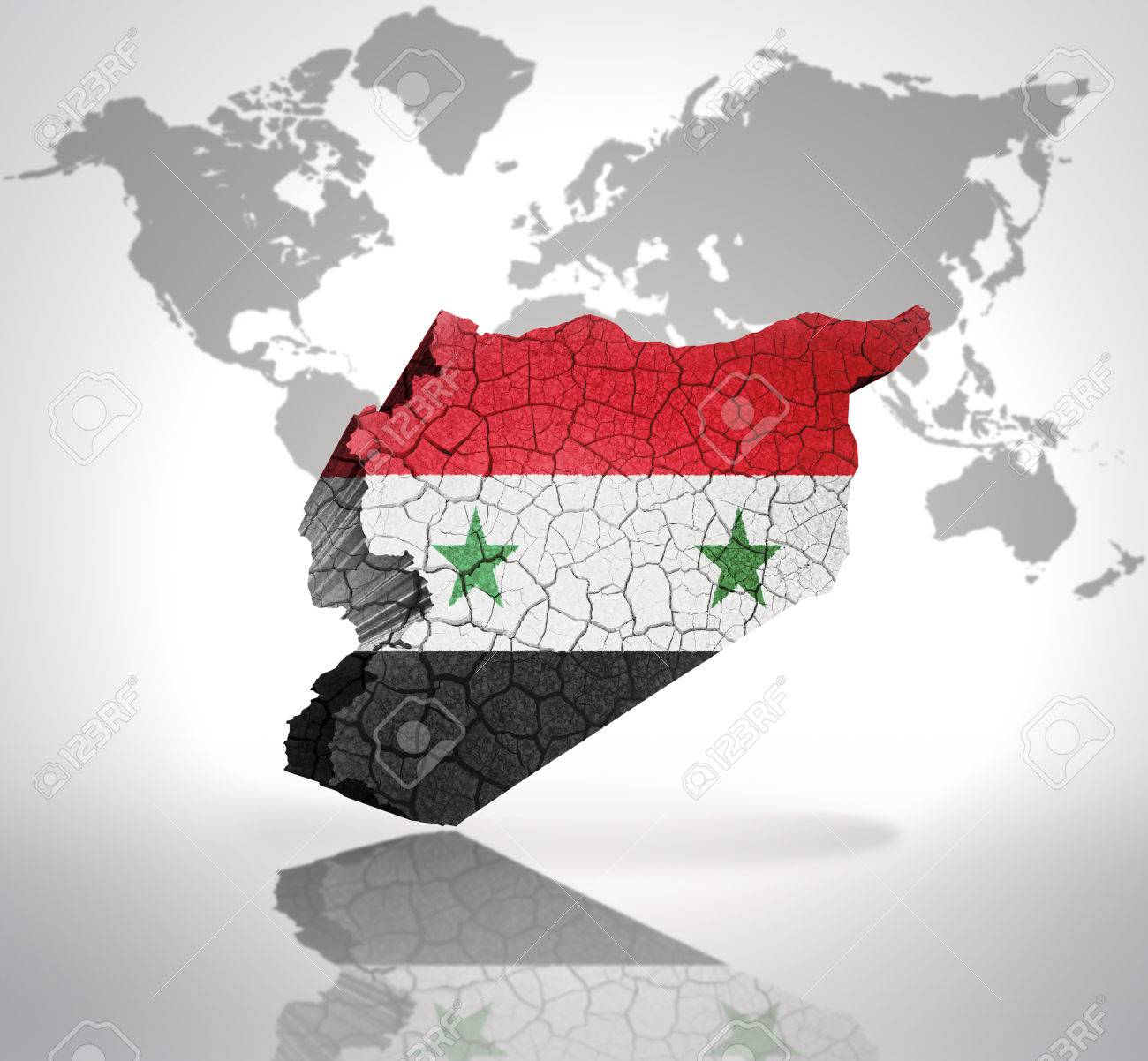 Map Of Syria With Syrian Flag On A World Map Background Stock - Syria world map