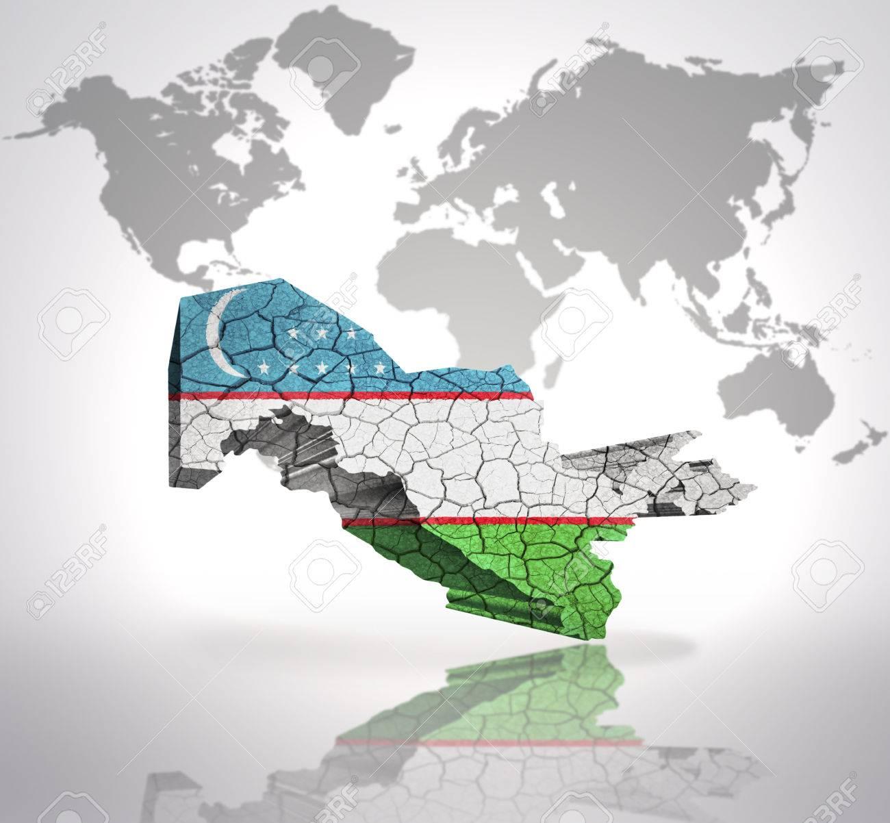 Image of: Map Of Uzbekistan With Uzbek Flag On A World Map Background Stock Photo Picture And Royalty Free Image Image 32873824