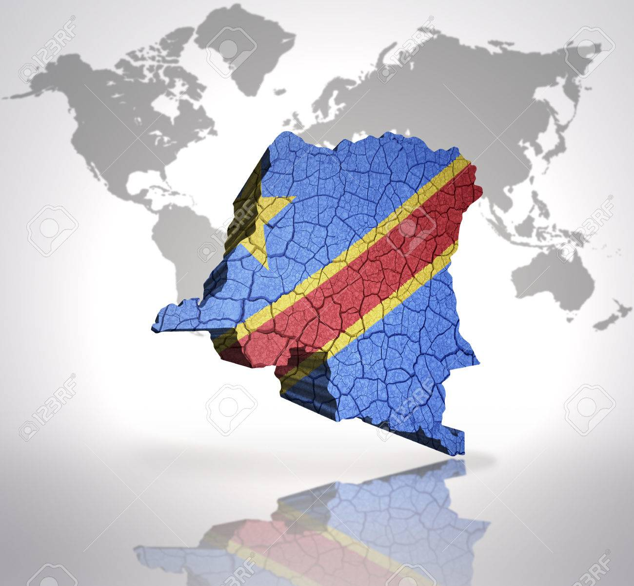 Map of democratic republic of congo with congolese flag on a stock map of democratic republic of congo with congolese flag on a world map background stock photo gumiabroncs Image collections