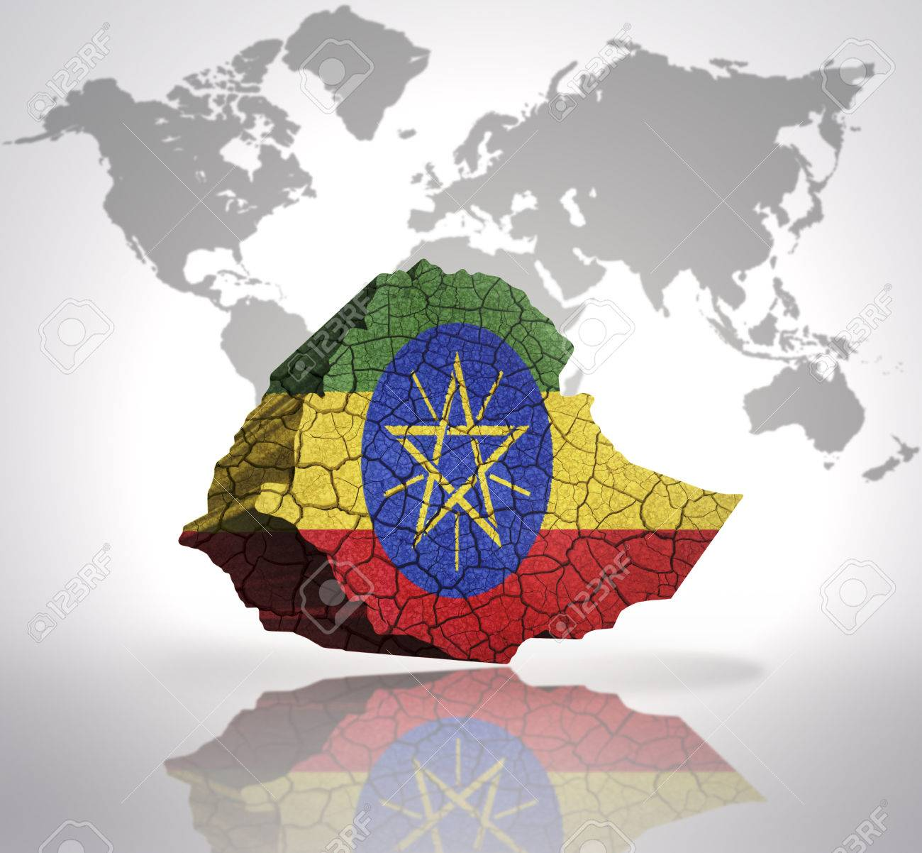 Map of ethiopia with ethiopian flag on a world map background stock map of ethiopia with ethiopian flag on a world map background stock photo 33005910 gumiabroncs Choice Image