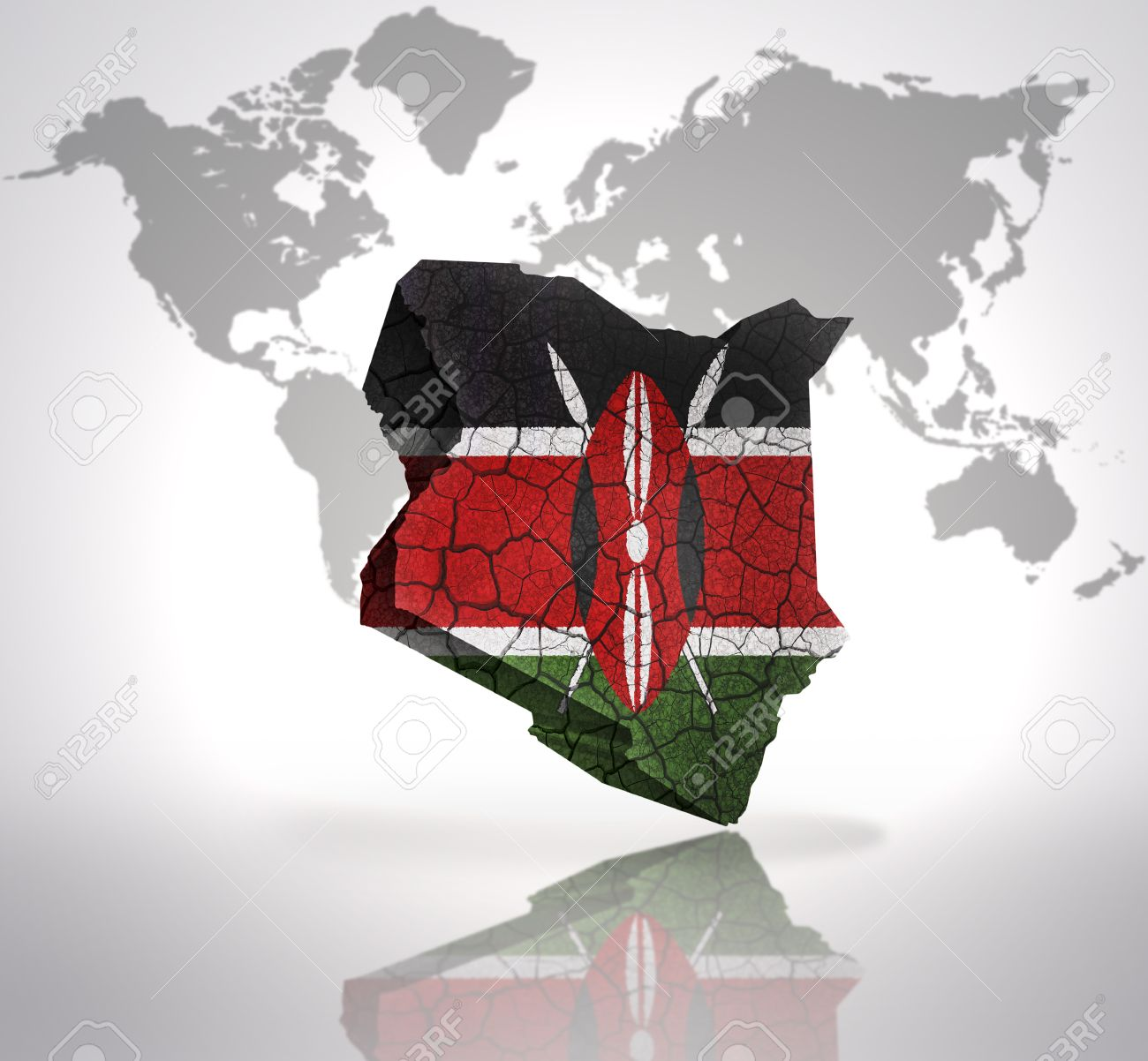 Map Of Kenya With Kenyan Flag On A World Map Background Stock