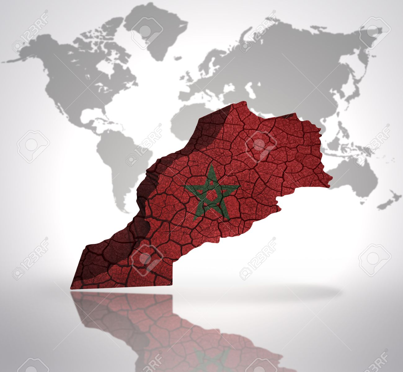 Map Of Morocco With Moroccan Flag On A World Map Background Stock