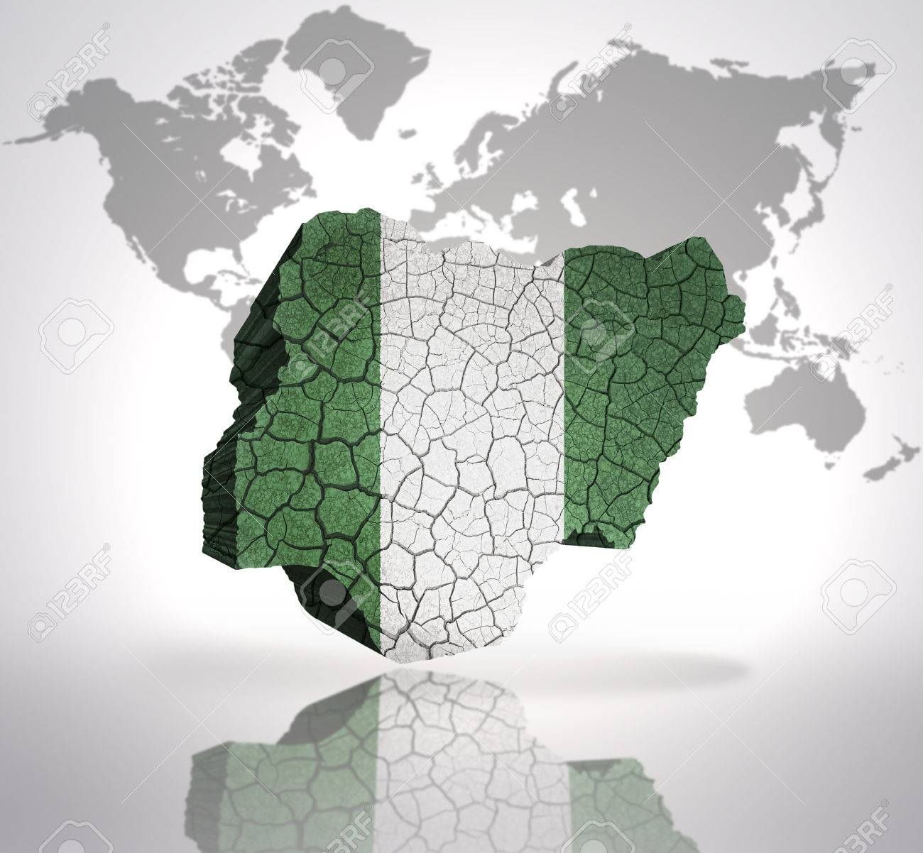Map of nigeria with nigerian flag on a world map background stock map of nigeria with nigerian flag on a world map background stock photo 33005697 gumiabroncs Gallery