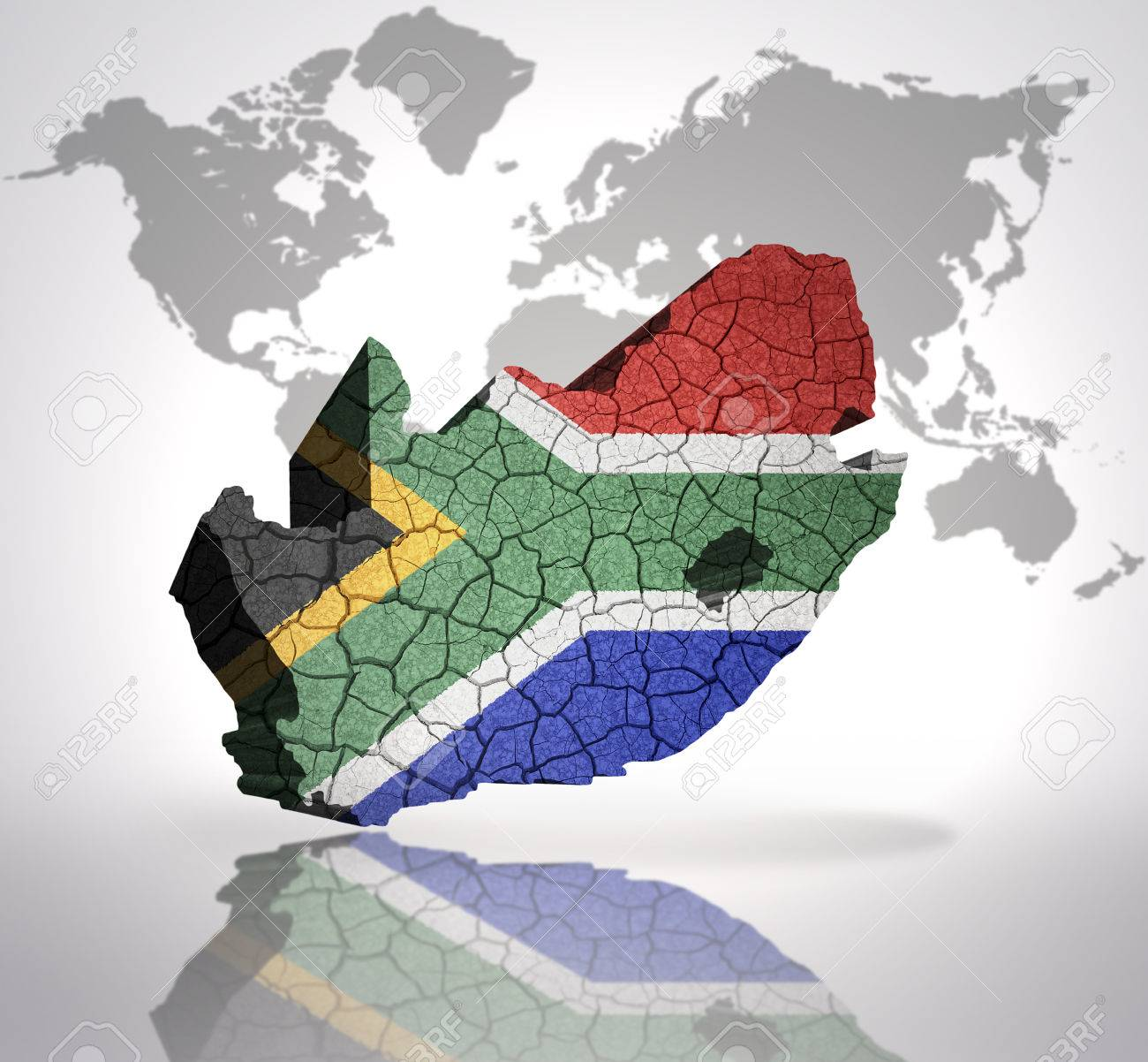 Map of south africa with south africa flag on a world map background map of south africa with south africa flag on a world map background stock photo gumiabroncs Choice Image
