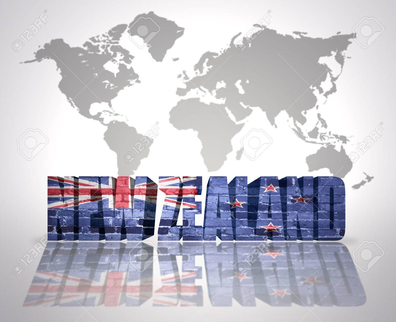 Word new zealand with new zealand flag on a world map background stock photo word new zealand with new zealand flag on a world map background gumiabroncs Choice Image