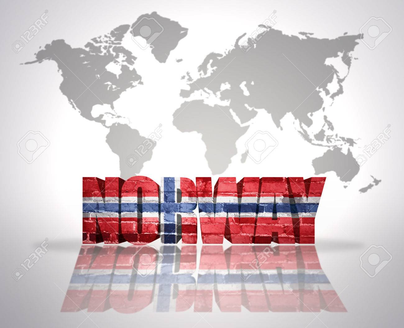word norway with norwegian flag on a world map background stock